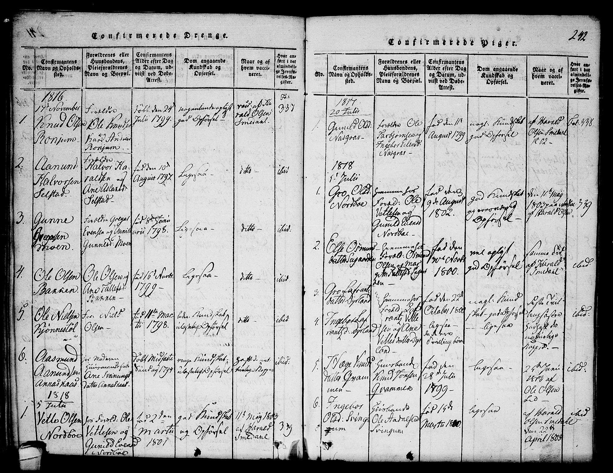 SAKO, Seljord kirkebøker, F/Fc/L0001: Ministerialbok nr. III 1, 1815-1831, s. 242