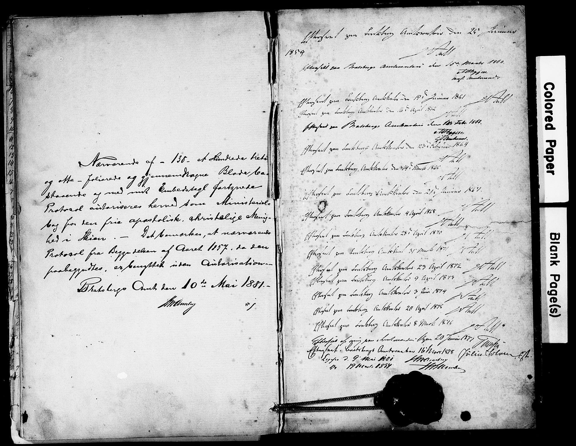 SAKO, Den frie apostolisk-kristelige menighet i Skien, F/Fa/L0001: Dissenterprotokoll nr. 1, 1856-1892
