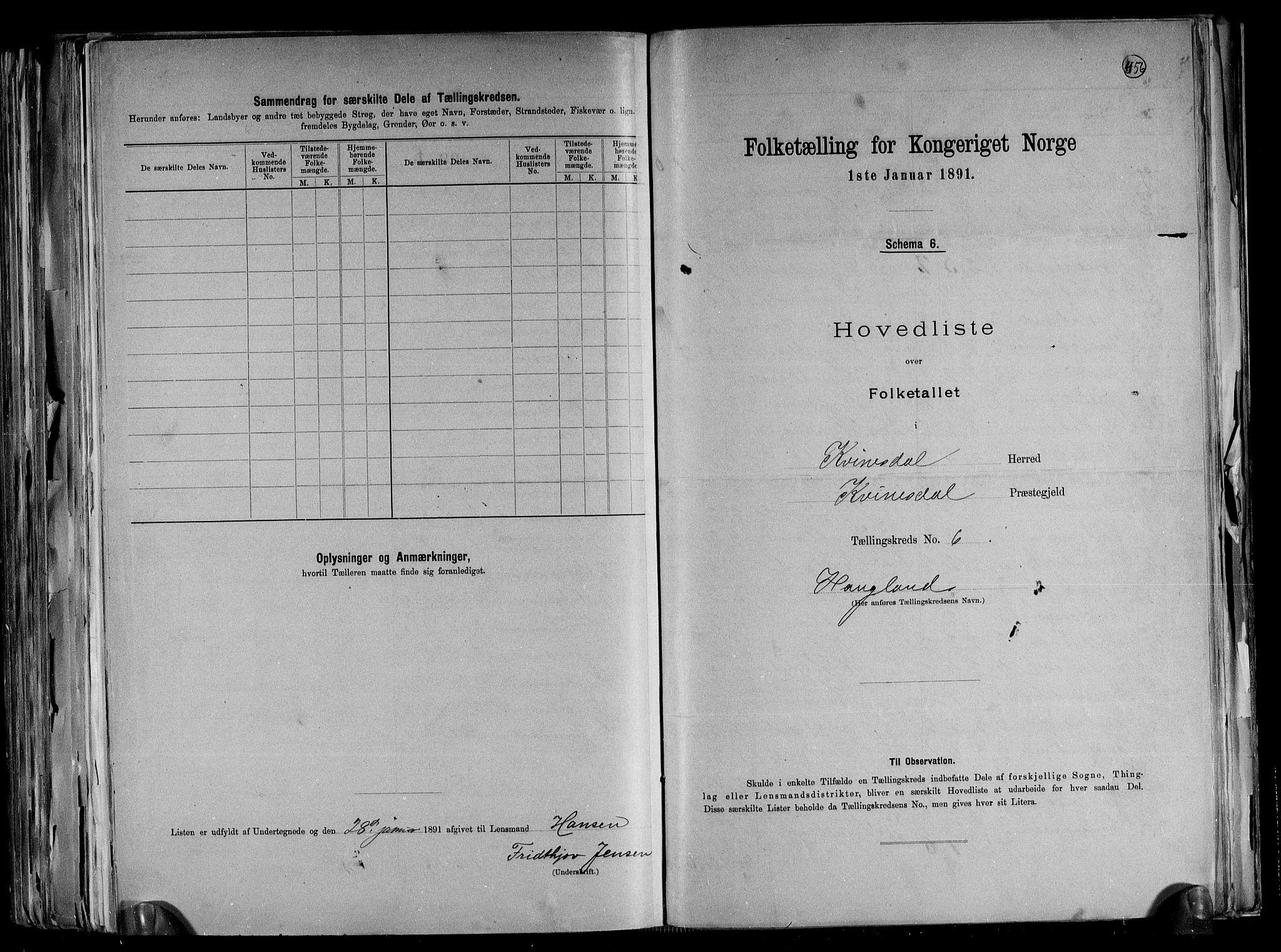 RA, Folketelling 1891 for 1037 Kvinesdal herred, 1891, s. 18