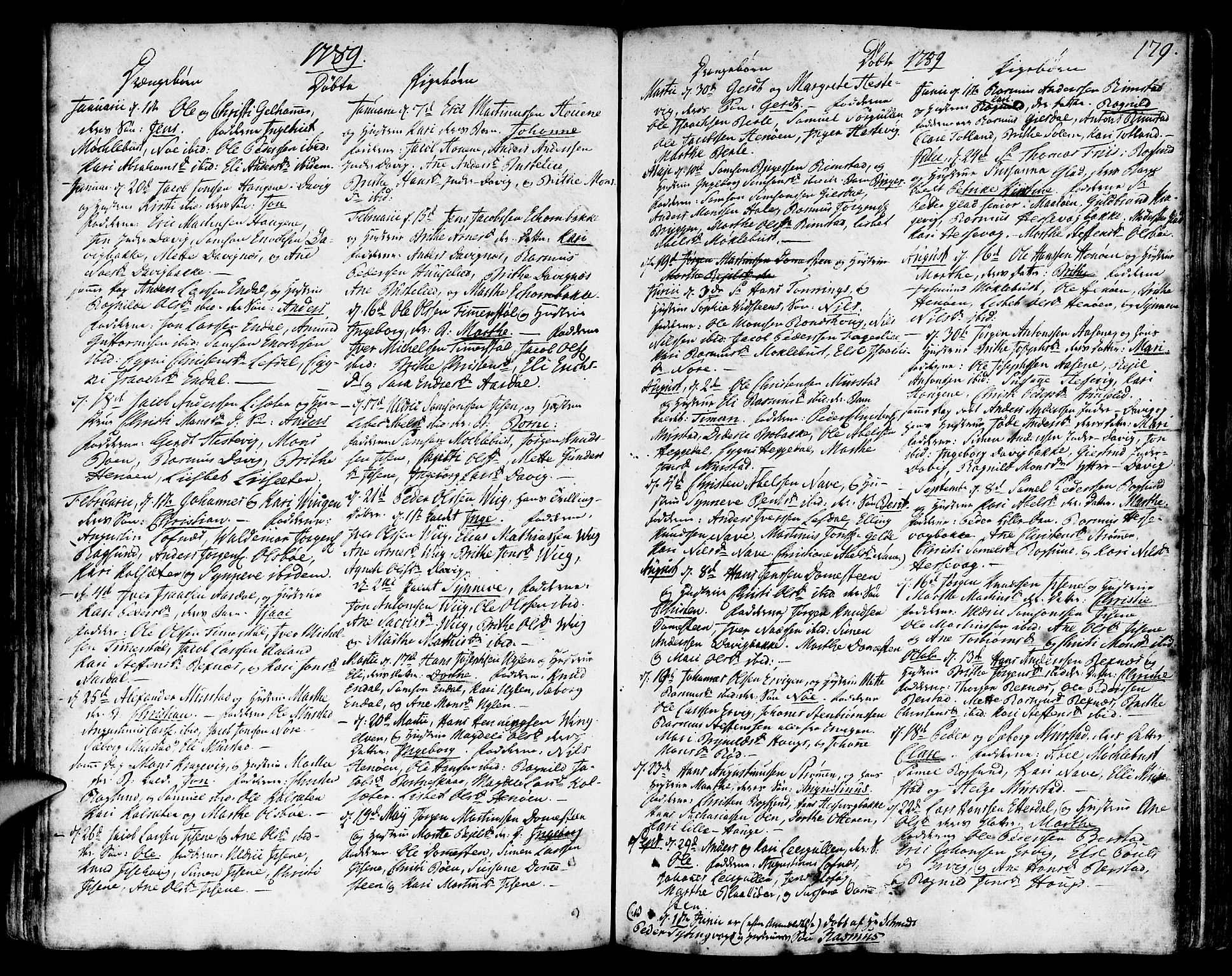 SAB, Davik Sokneprestembete, Ministerialbok nr. A 2, 1742-1816, s. 179
