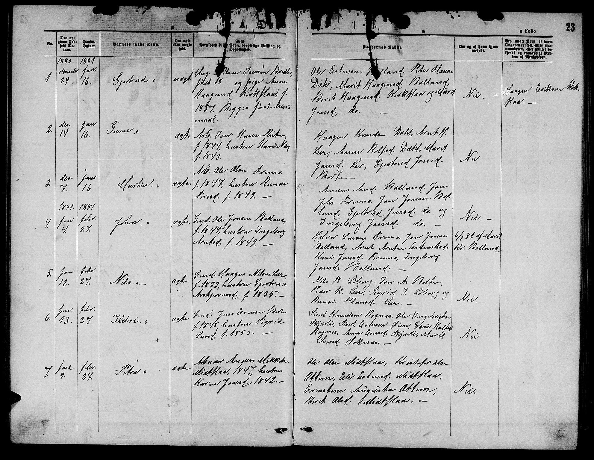 SAT, Ministerialprotokoller, klokkerbøker og fødselsregistre - Sør-Trøndelag, 693/L1122: Klokkerbok nr. 693C03, 1870-1886, s. 23