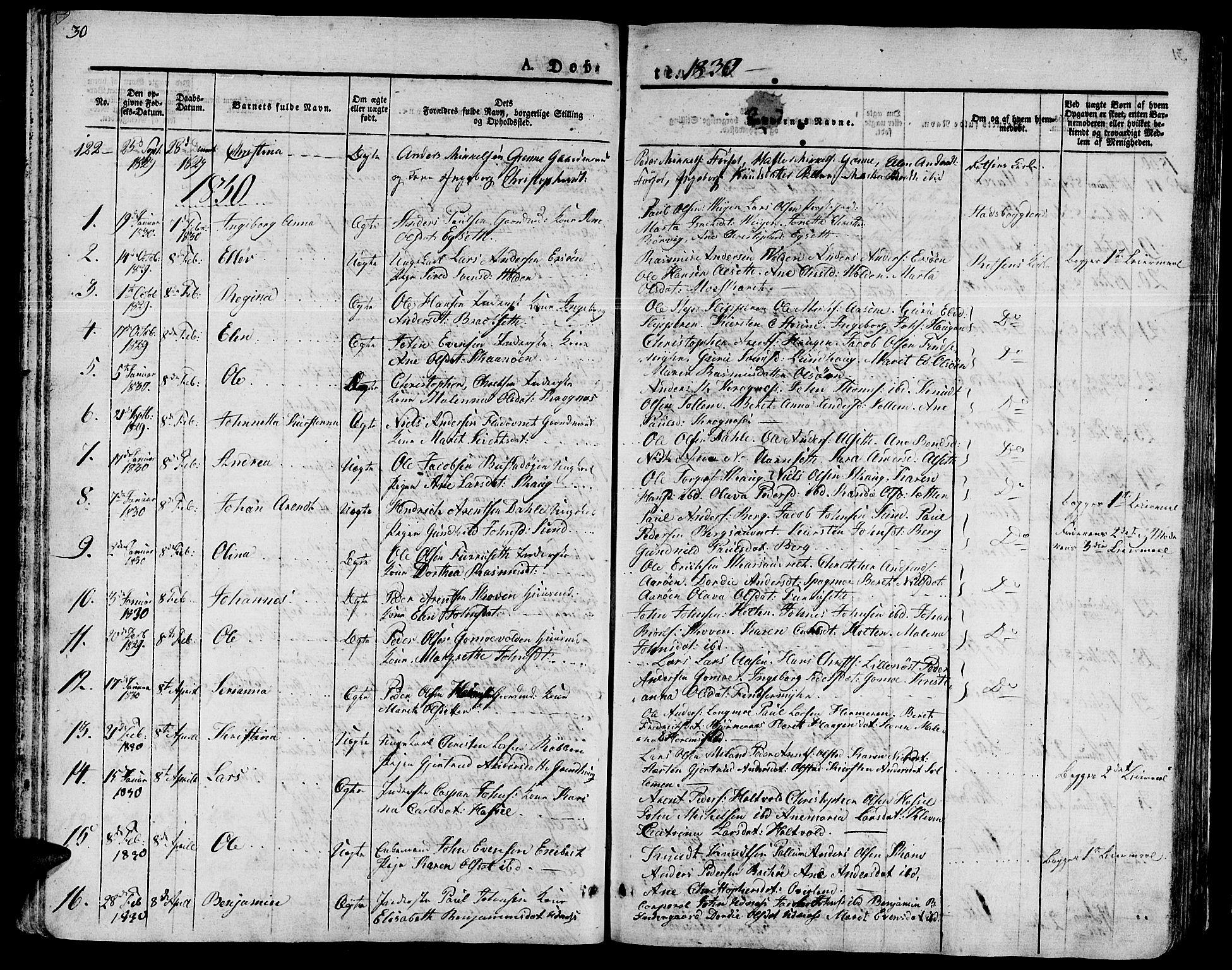 SAT, Ministerialprotokoller, klokkerbøker og fødselsregistre - Sør-Trøndelag, 646/L0609: Ministerialbok nr. 646A07, 1826-1838, s. 30