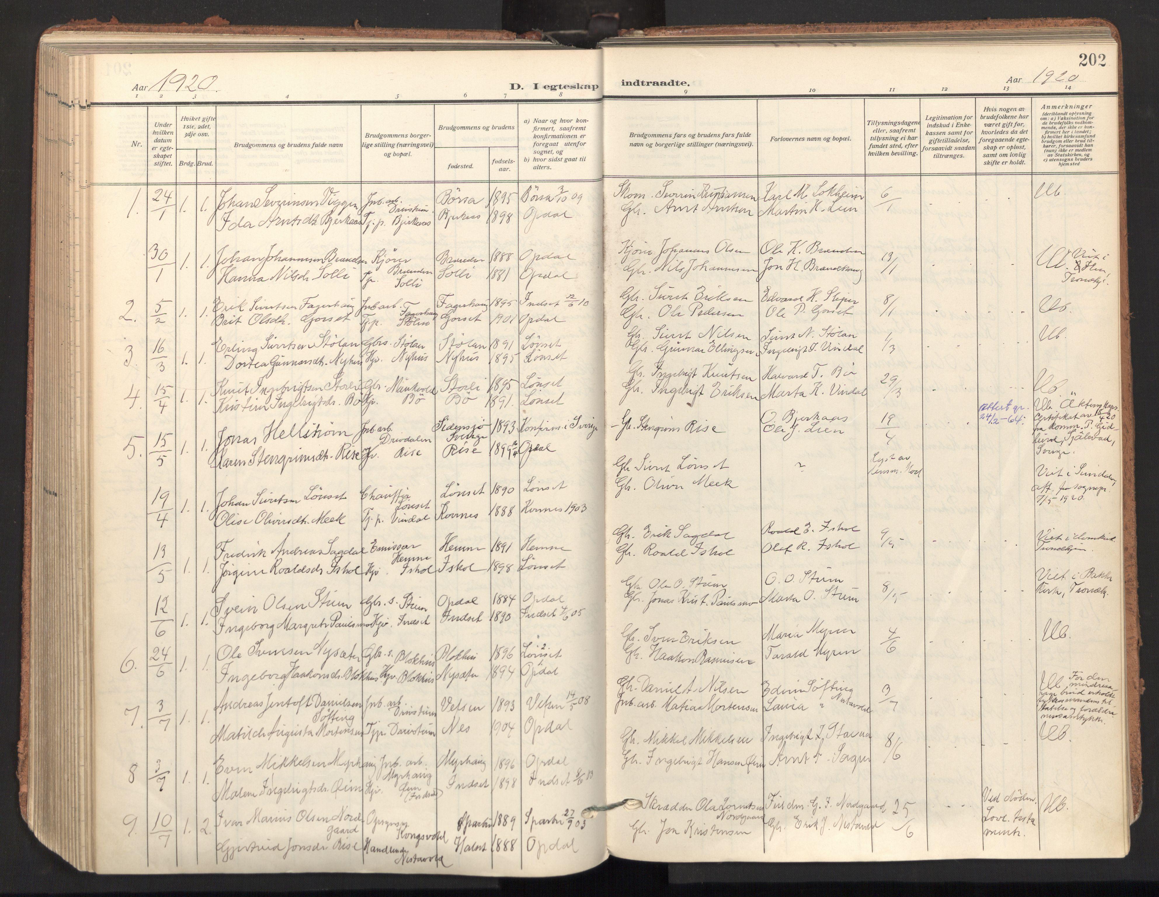 SAT, Ministerialprotokoller, klokkerbøker og fødselsregistre - Sør-Trøndelag, 678/L0909: Ministerialbok nr. 678A17, 1912-1930, s. 202