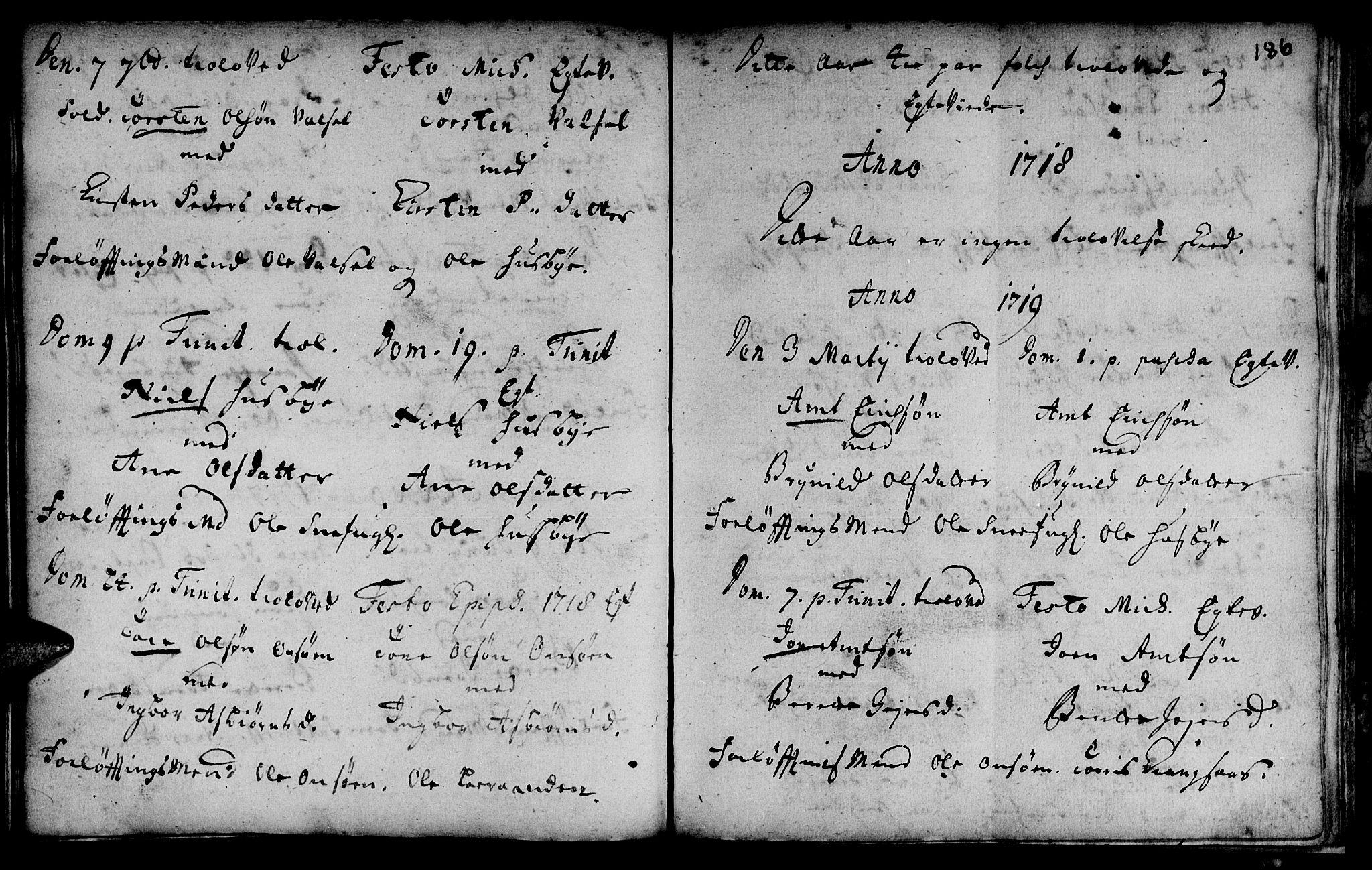SAT, Ministerialprotokoller, klokkerbøker og fødselsregistre - Sør-Trøndelag, 666/L0783: Ministerialbok nr. 666A01, 1702-1753, s. 186