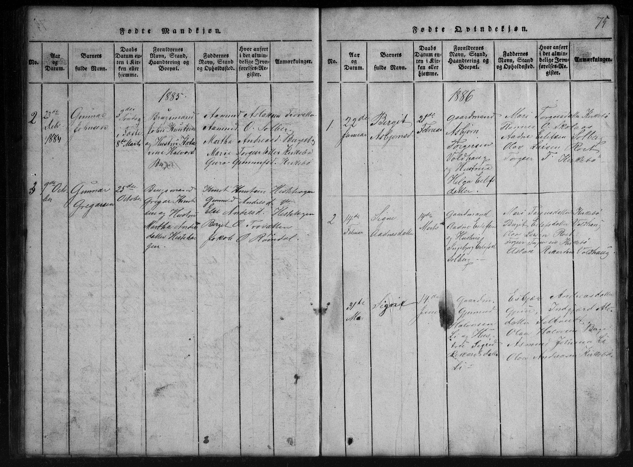 SAKO, Rauland kirkebøker, G/Gb/L0001: Klokkerbok nr. II 1, 1815-1886, s. 75