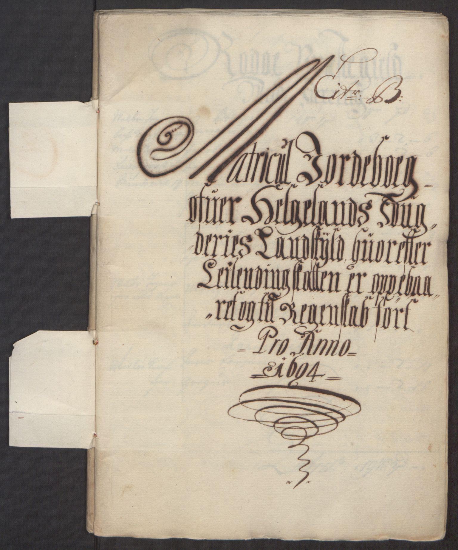RA, Rentekammeret inntil 1814, Reviderte regnskaper, Fogderegnskap, R65/L4505: Fogderegnskap Helgeland, 1693-1696, s. 163