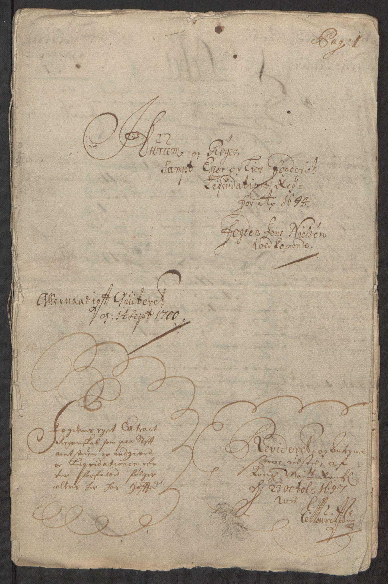 RA, Rentekammeret inntil 1814, Reviderte regnskaper, Fogderegnskap, R30/L1694: Fogderegnskap Hurum, Røyken, Eiker og Lier, 1694-1696, s. 3