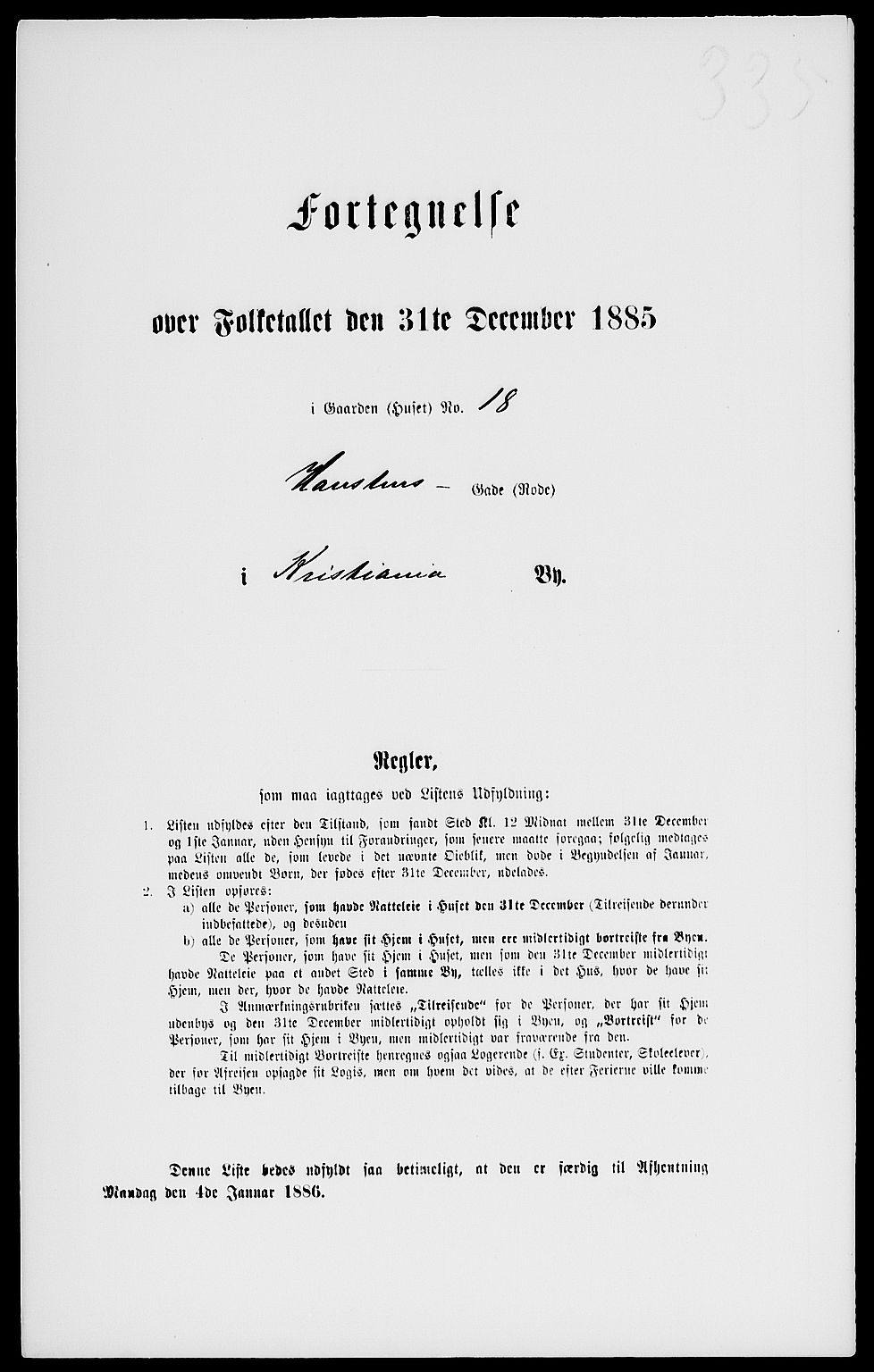 RA, Folketelling 1885 for 0301 Kristiania kjøpstad, 1885, s. 3191