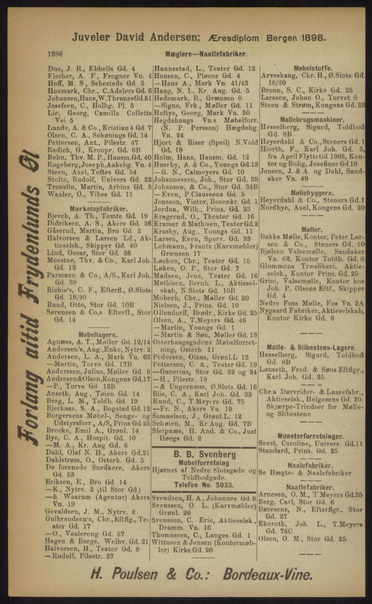 RA, Kristiania adressebok (publikasjon)*, 1903, s. 1386