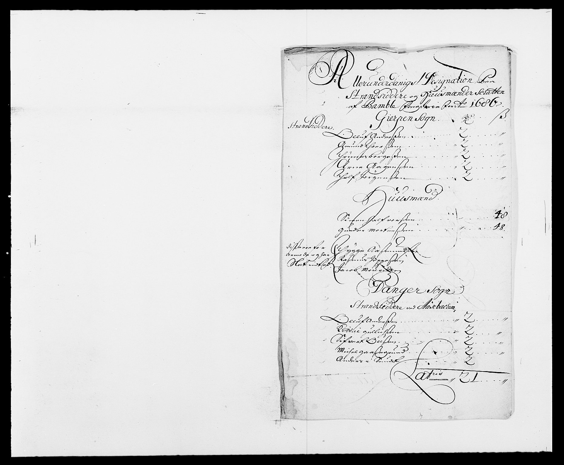 RA, Rentekammeret inntil 1814, Reviderte regnskaper, Fogderegnskap, R34/L2049: Fogderegnskap Bamble, 1685-1687, s. 61