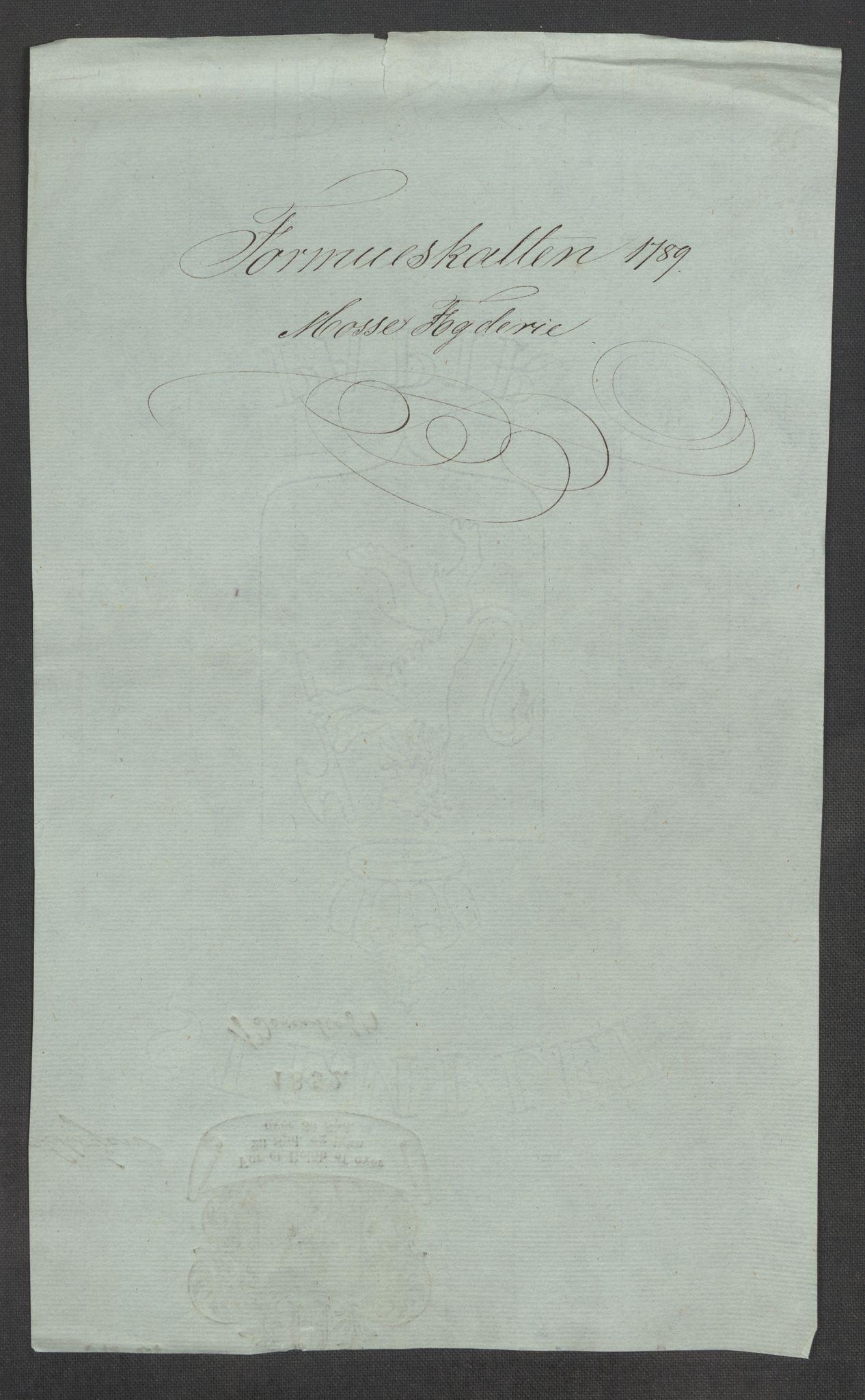 RA, Rentekammeret inntil 1814, Reviderte regnskaper, Mindre regnskaper, Rf/Rfe/L0025: Moss, Onsøy, Tune og Veme fogderi. Namdal fogderi, 1789, s. 3