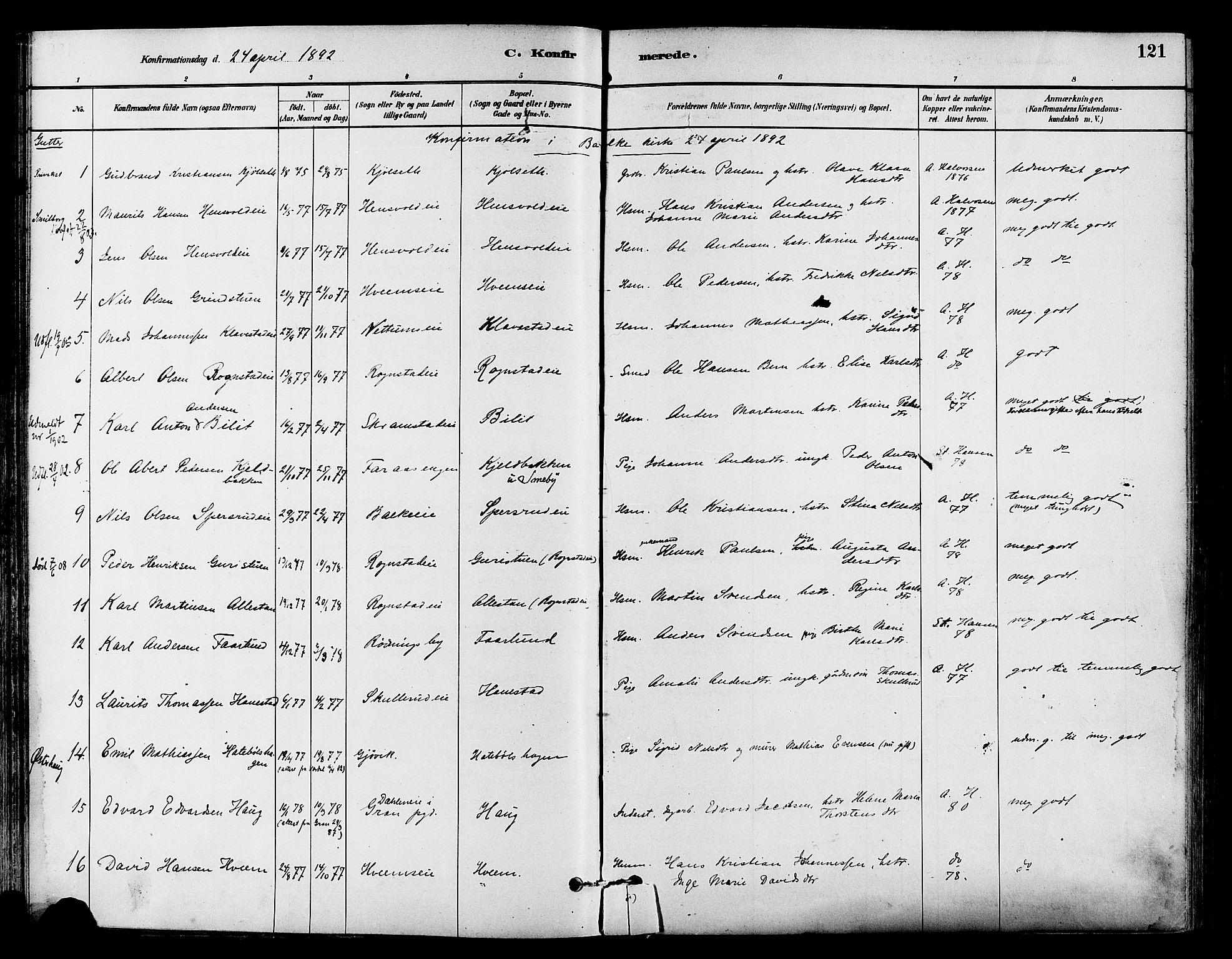 SAH, Østre Toten prestekontor, Ministerialbok nr. 7, 1881-1896, s. 121