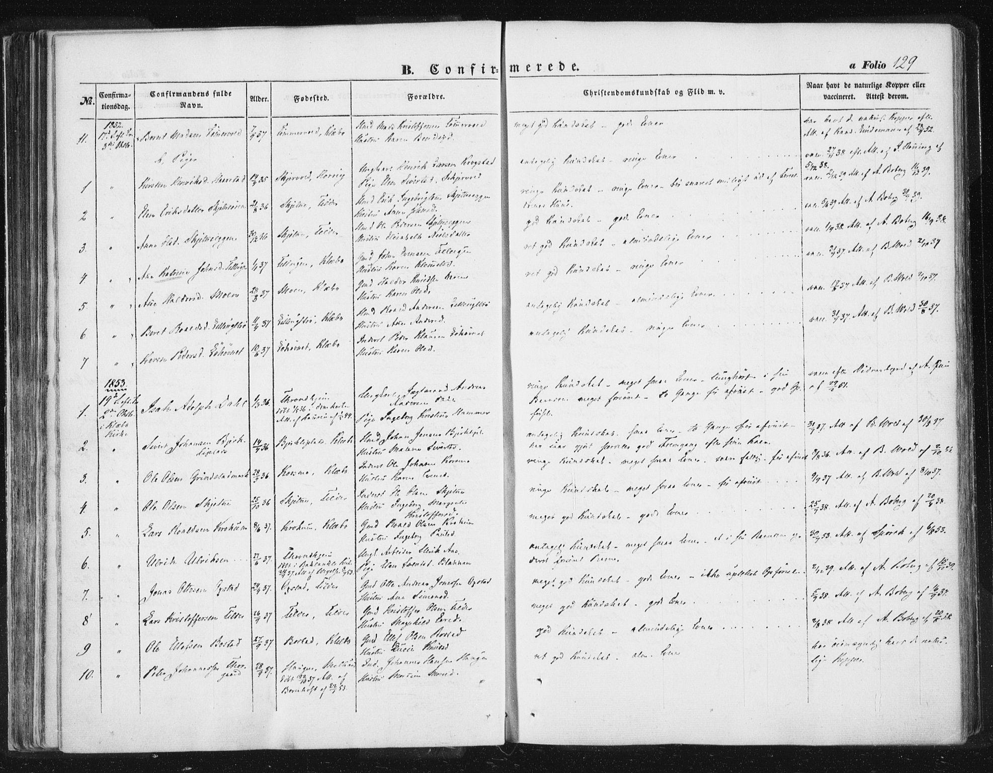SAT, Ministerialprotokoller, klokkerbøker og fødselsregistre - Sør-Trøndelag, 618/L0441: Ministerialbok nr. 618A05, 1843-1862, s. 129
