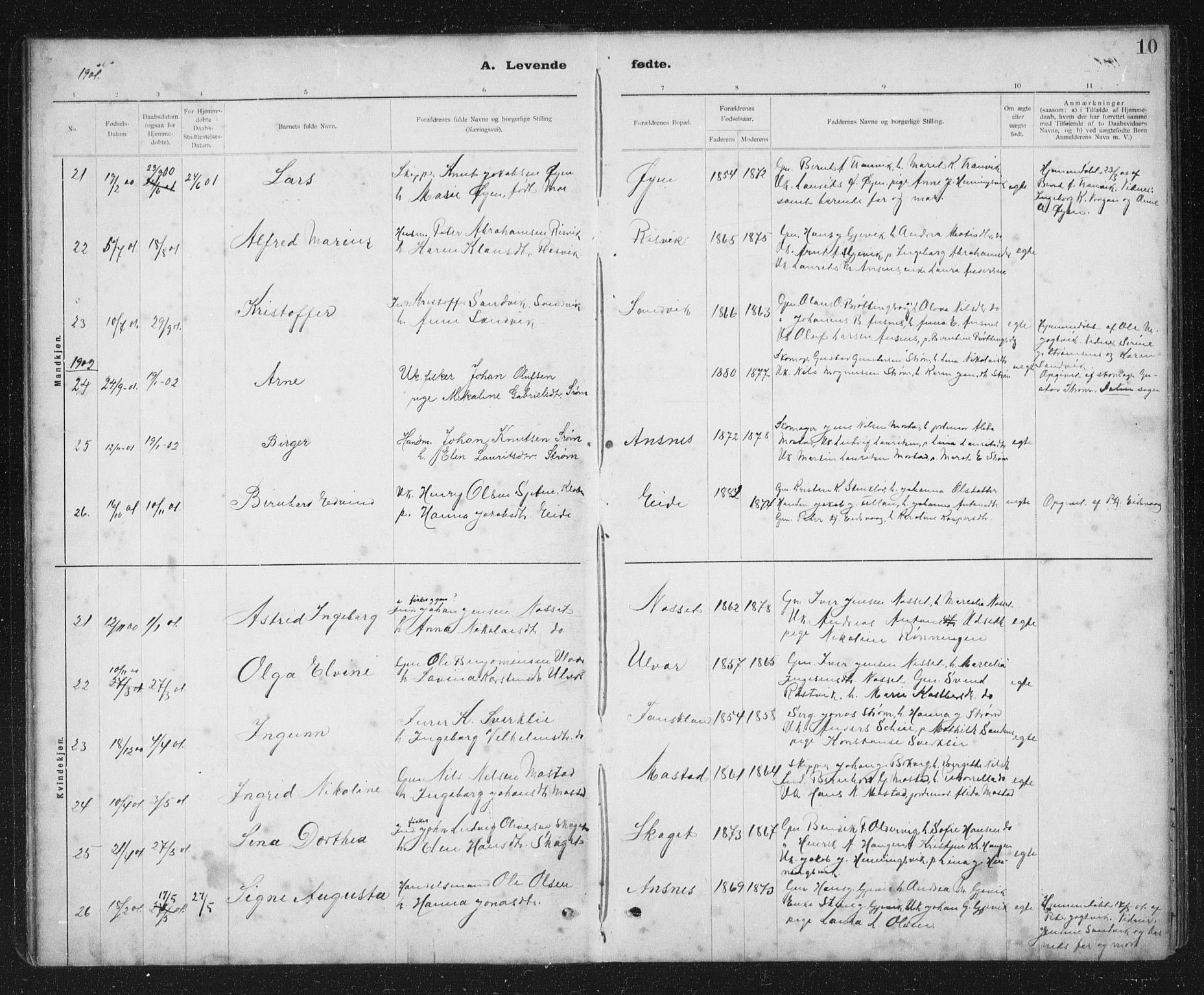 SAT, Ministerialprotokoller, klokkerbøker og fødselsregistre - Sør-Trøndelag, 637/L0563: Klokkerbok nr. 637C04, 1899-1940, s. 10