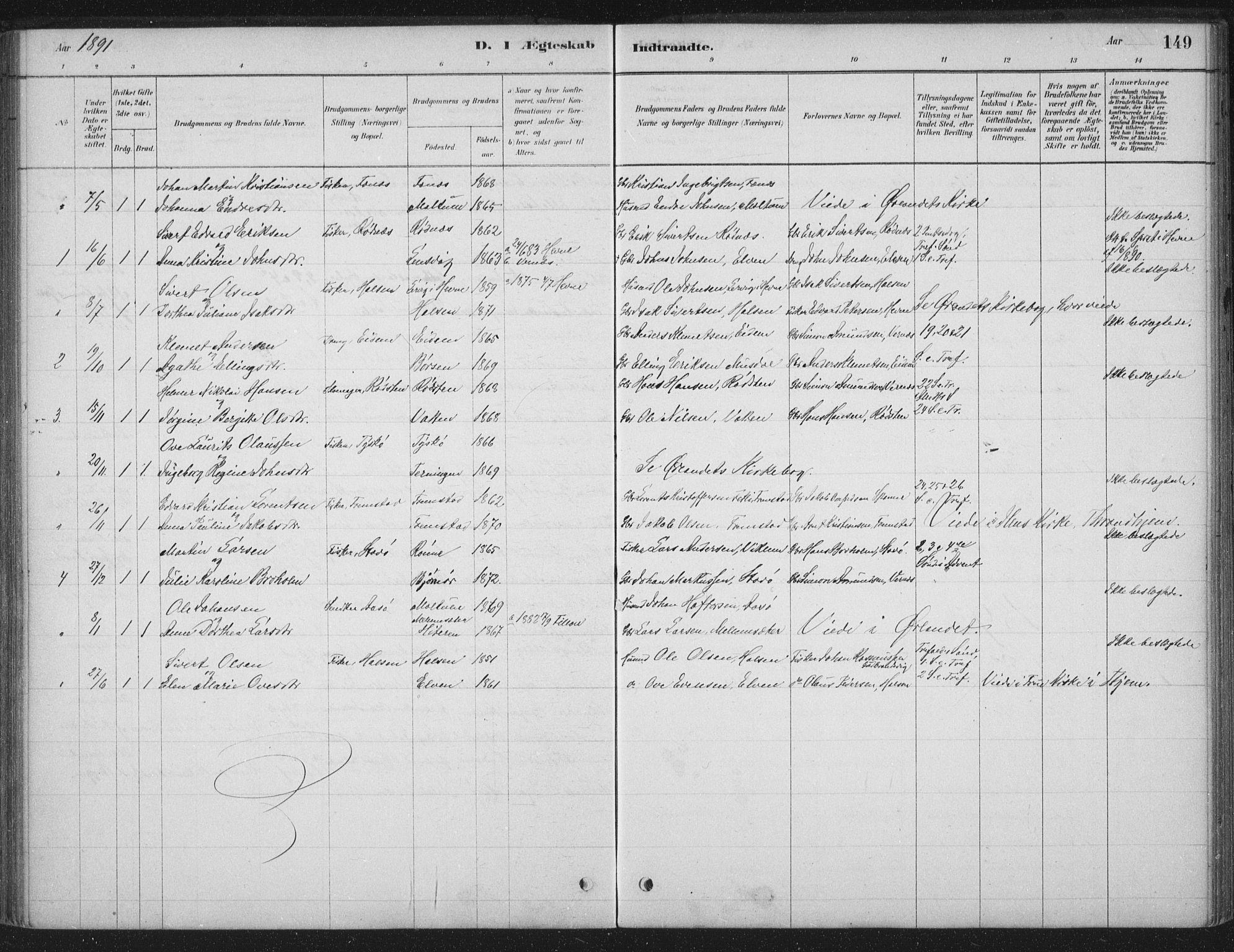 SAT, Ministerialprotokoller, klokkerbøker og fødselsregistre - Sør-Trøndelag, 662/L0755: Ministerialbok nr. 662A01, 1879-1905, s. 149