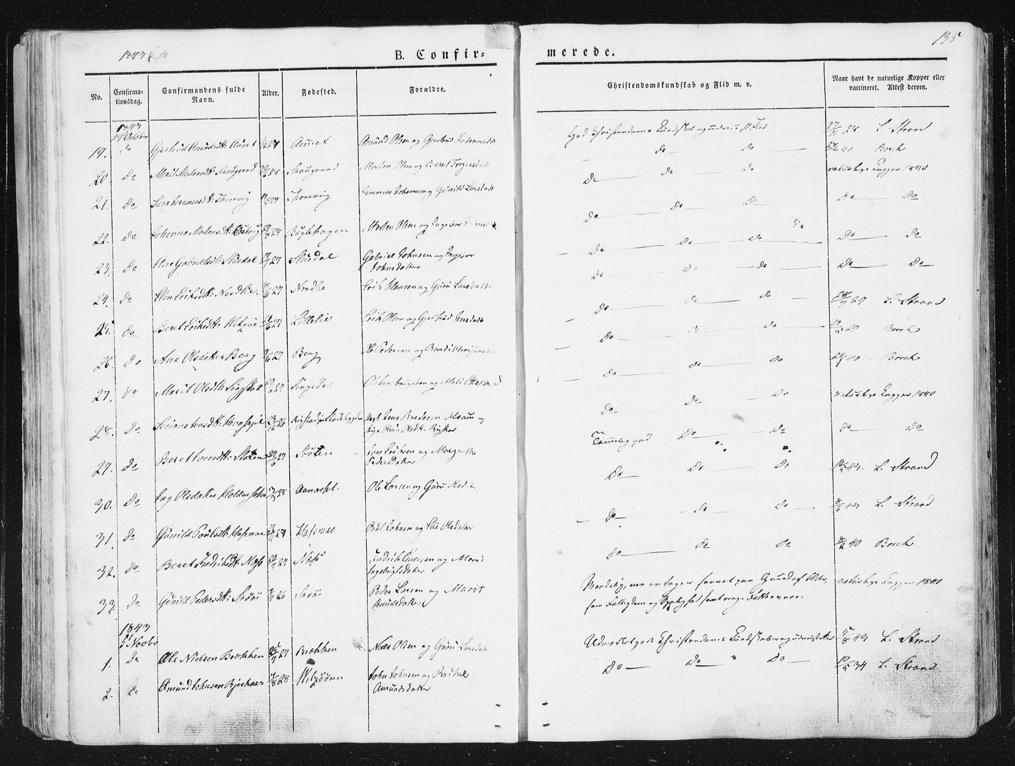 SAT, Ministerialprotokoller, klokkerbøker og fødselsregistre - Sør-Trøndelag, 630/L0493: Ministerialbok nr. 630A06, 1841-1851, s. 135