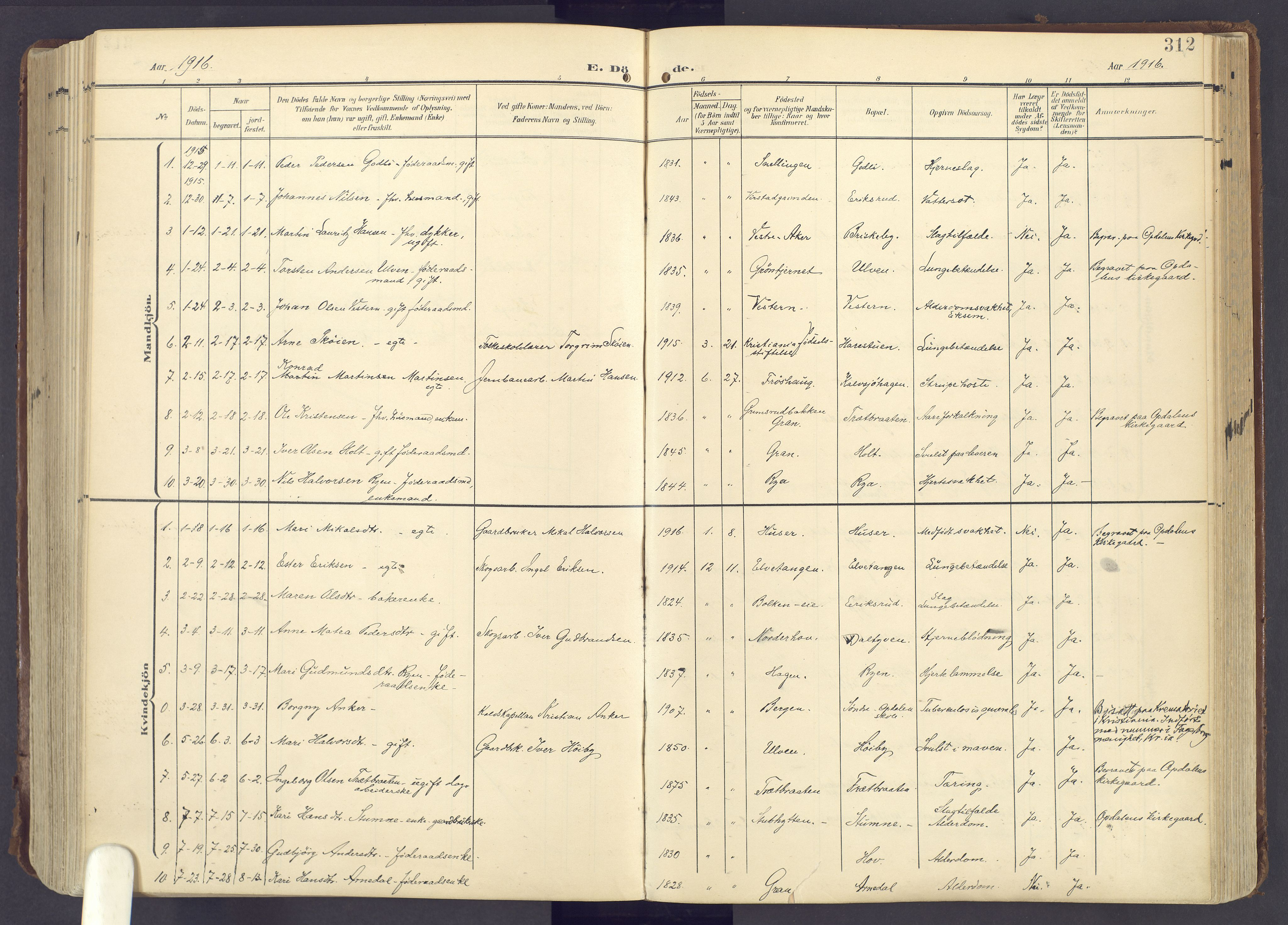 SAH, Lunner prestekontor, H/Ha/Haa/L0001: Ministerialbok nr. 1, 1907-1922, s. 312