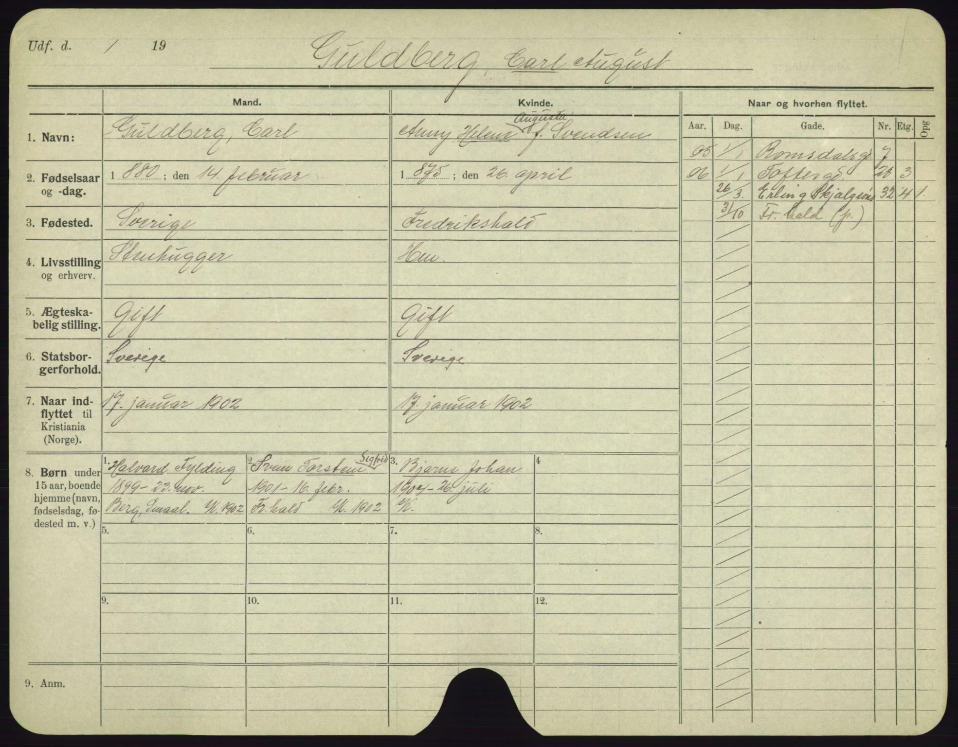 SAO, Oslo folkeregister, Registerkort, F/Fa/Fac/L0003: Menn, 1906-1914, s. 701a