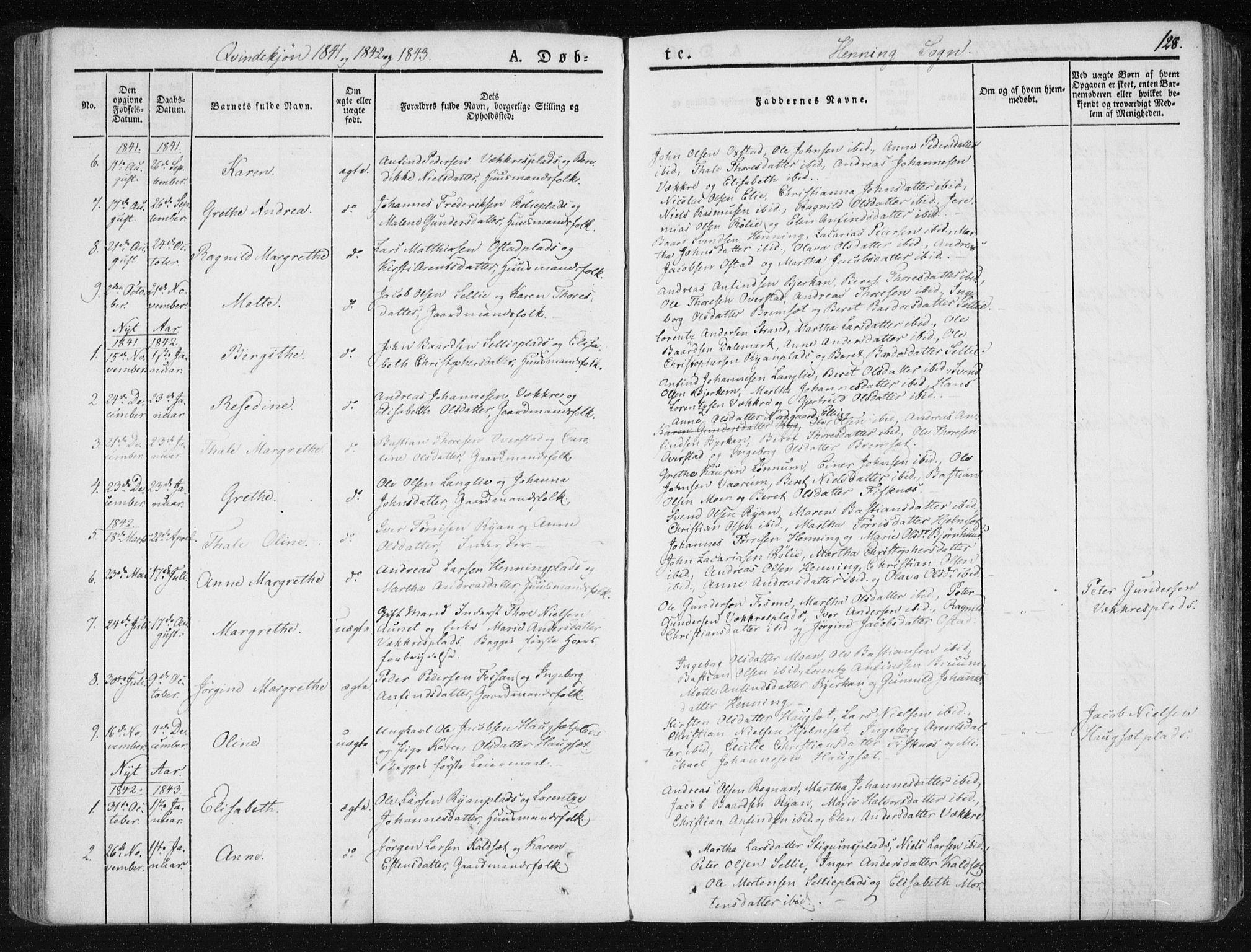 SAT, Ministerialprotokoller, klokkerbøker og fødselsregistre - Nord-Trøndelag, 735/L0339: Ministerialbok nr. 735A06 /3, 1836-1848, s. 128