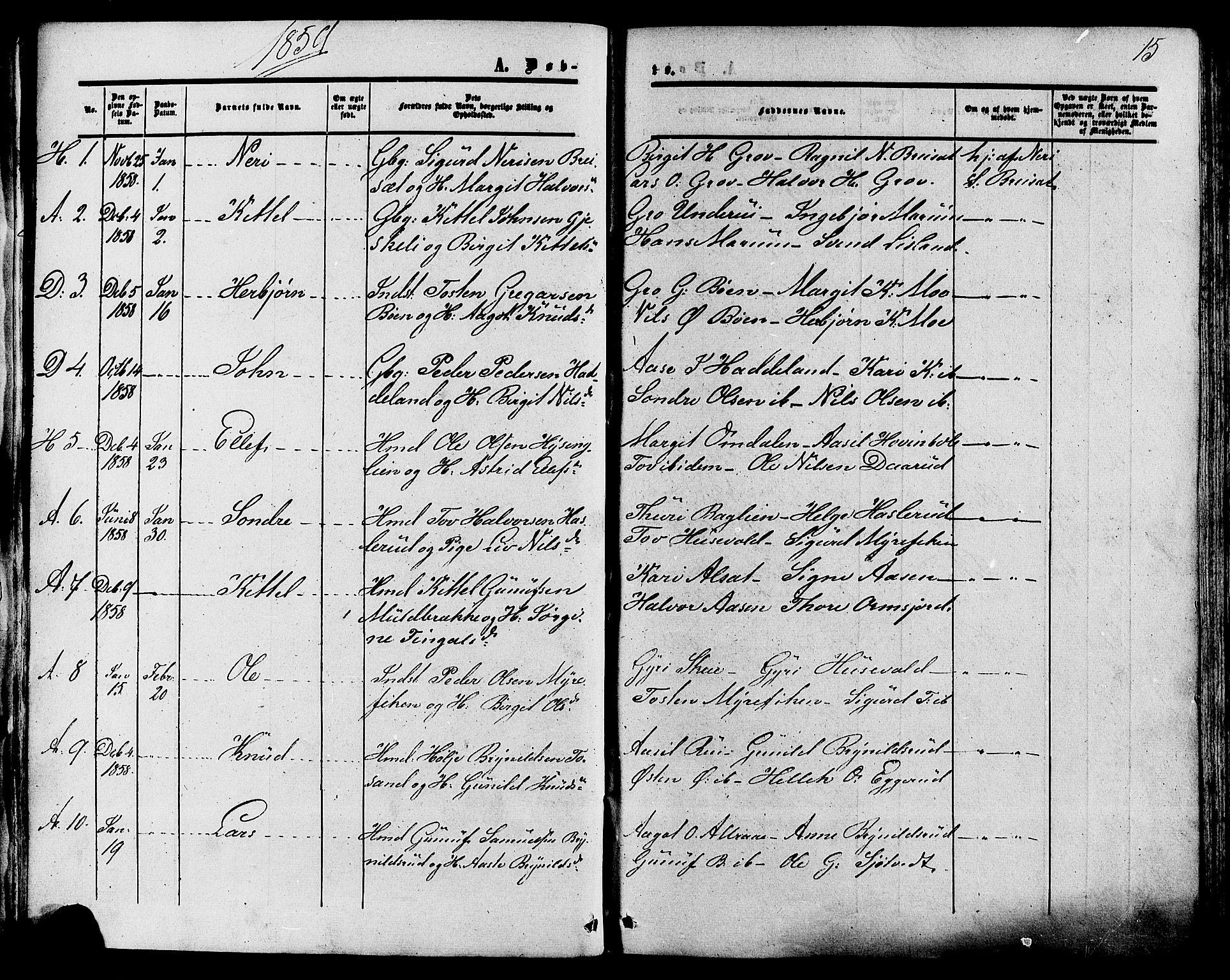 SAKO, Tinn kirkebøker, F/Fa/L0006: Ministerialbok nr. I 6, 1857-1878, s. 15