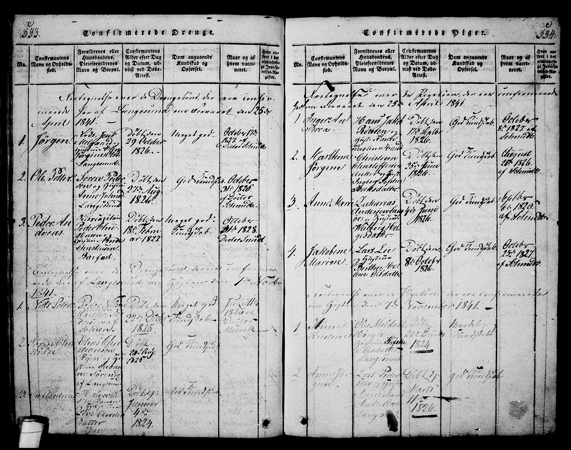 SAKO, Langesund kirkebøker, G/Ga/L0003: Klokkerbok nr. 3, 1815-1858, s. 533-534