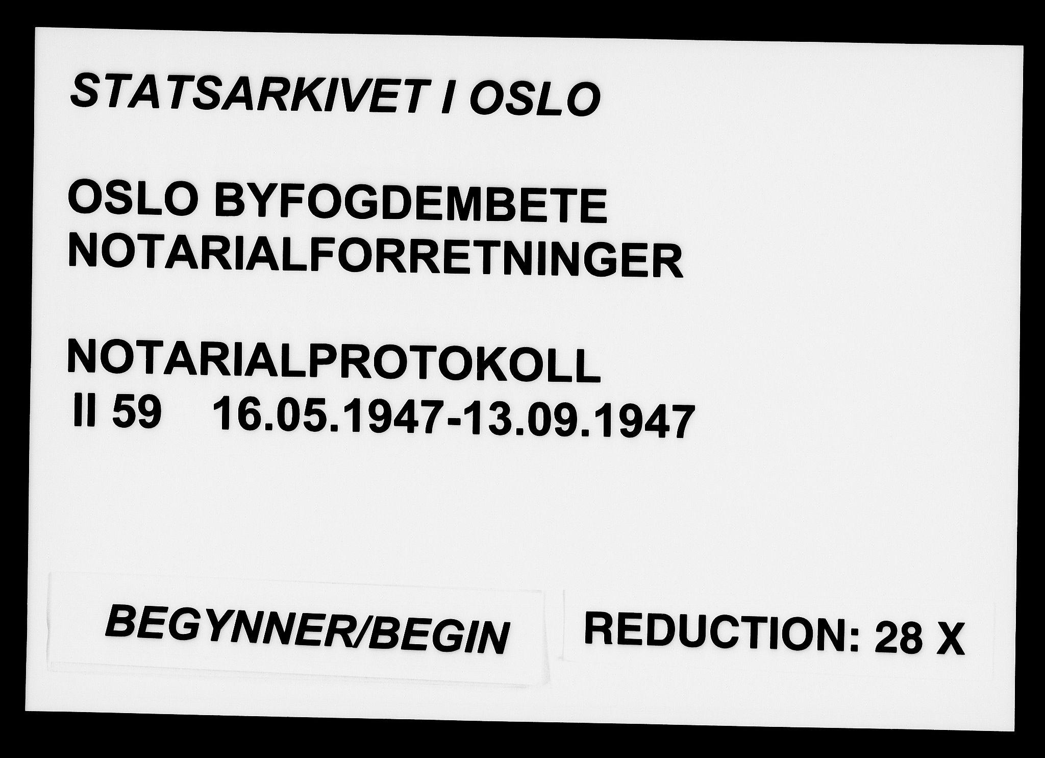 SAO, Oslo byfogd avd. I, L/Lb/Lbb/L0059: Notarialprotokoll, rekke II: Vigsler, 1947, s. upaginert