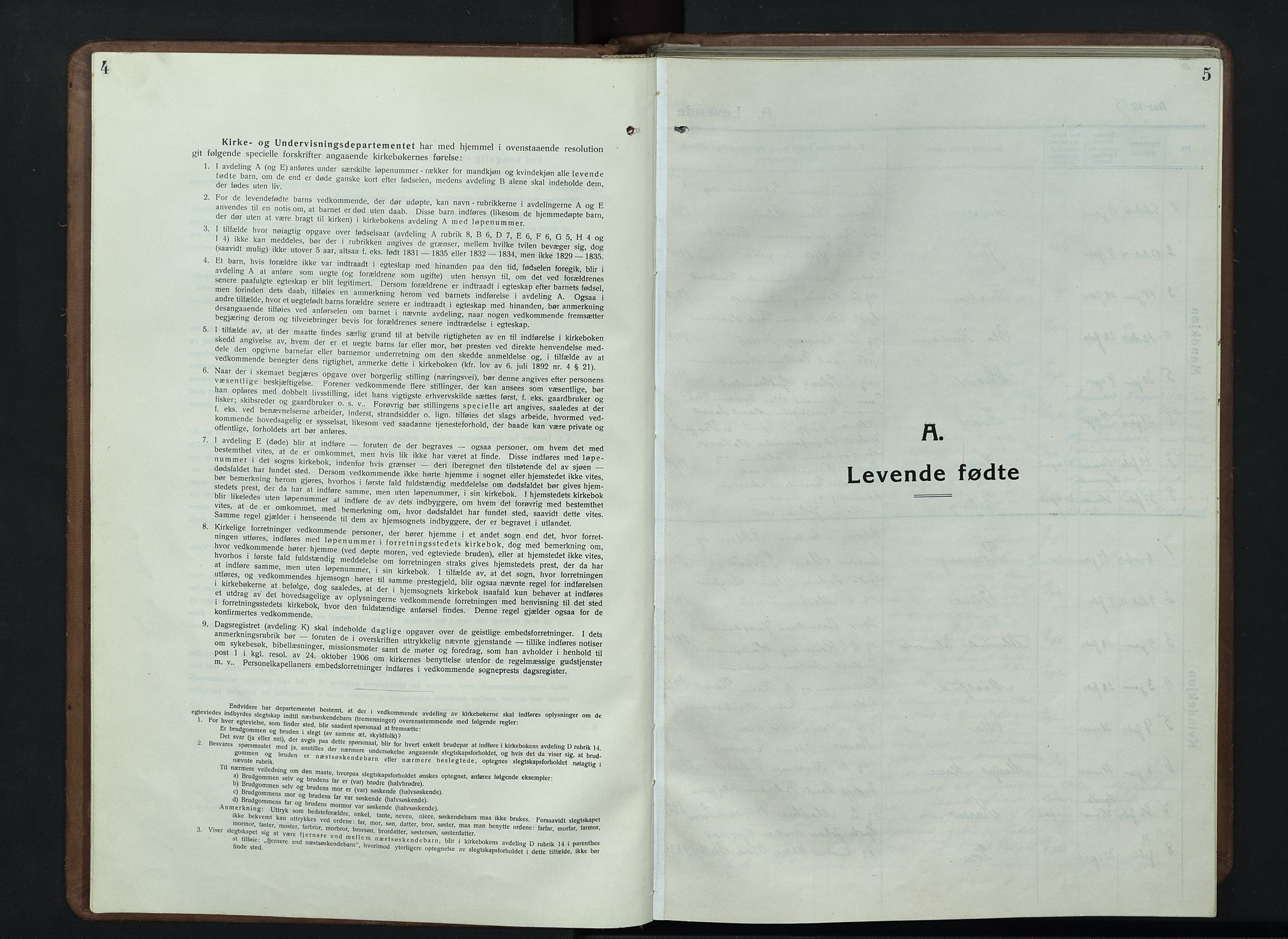 SAH, Nord-Fron prestekontor, Klokkerbok nr. 7, 1915-1946, s. 4-5