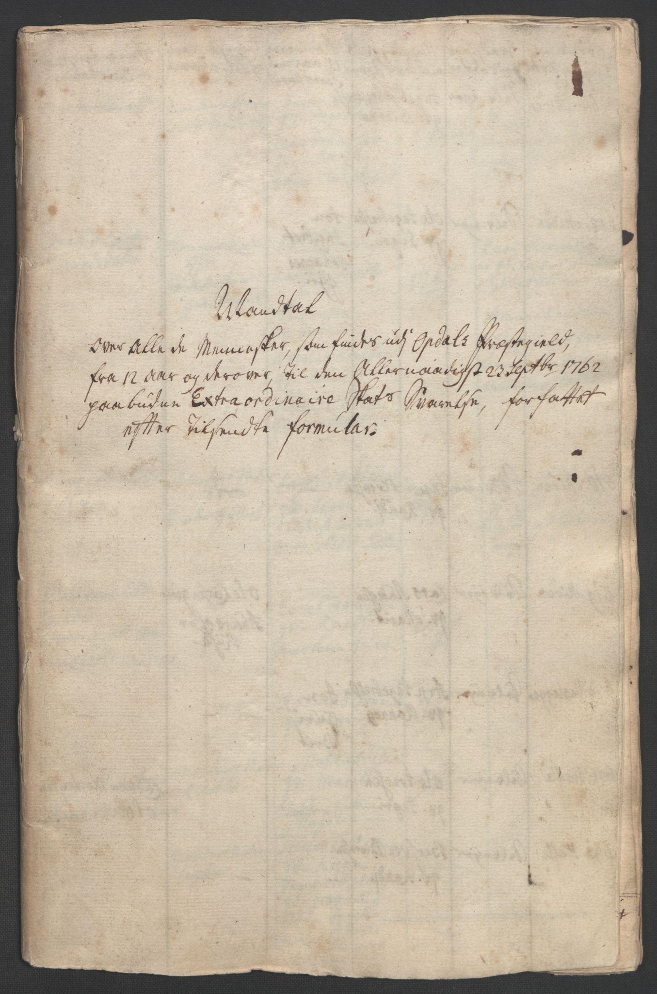 RA, Rentekammeret inntil 1814, Realistisk ordnet avdeling, Ol/L0021: [Gg 10]: Ekstraskatten, 23.09.1762. Orkdal og Gauldal, 1762-1767, s. 6