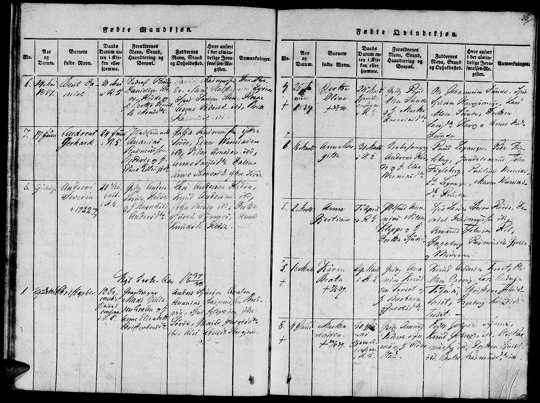 SAT, Ministerialprotokoller, klokkerbøker og fødselsregistre - Møre og Romsdal, 504/L0054: Ministerialbok nr. 504A01, 1816-1861, s. 35