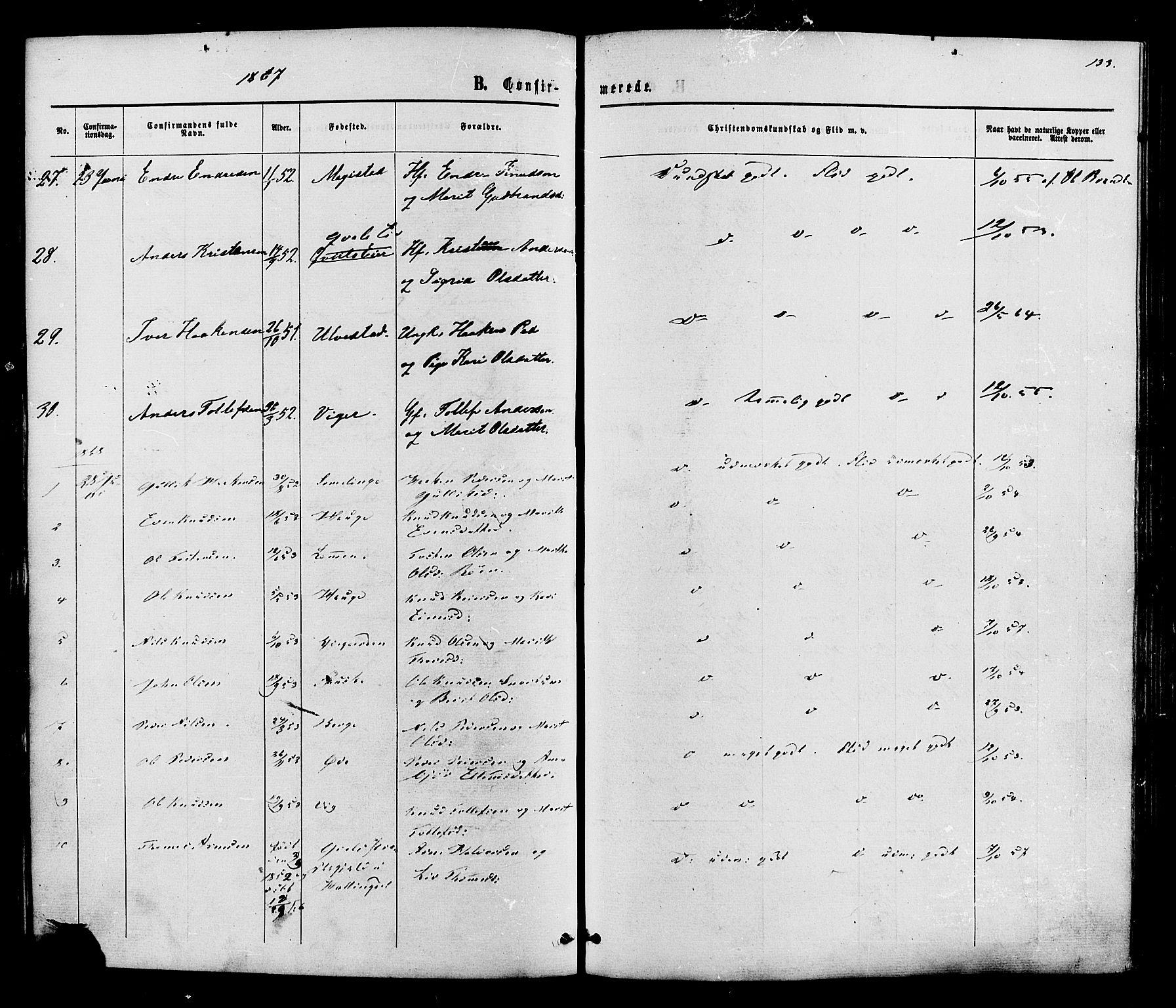 SAH, Vestre Slidre prestekontor, Ministerialbok nr. 3, 1865-1880, s. 133