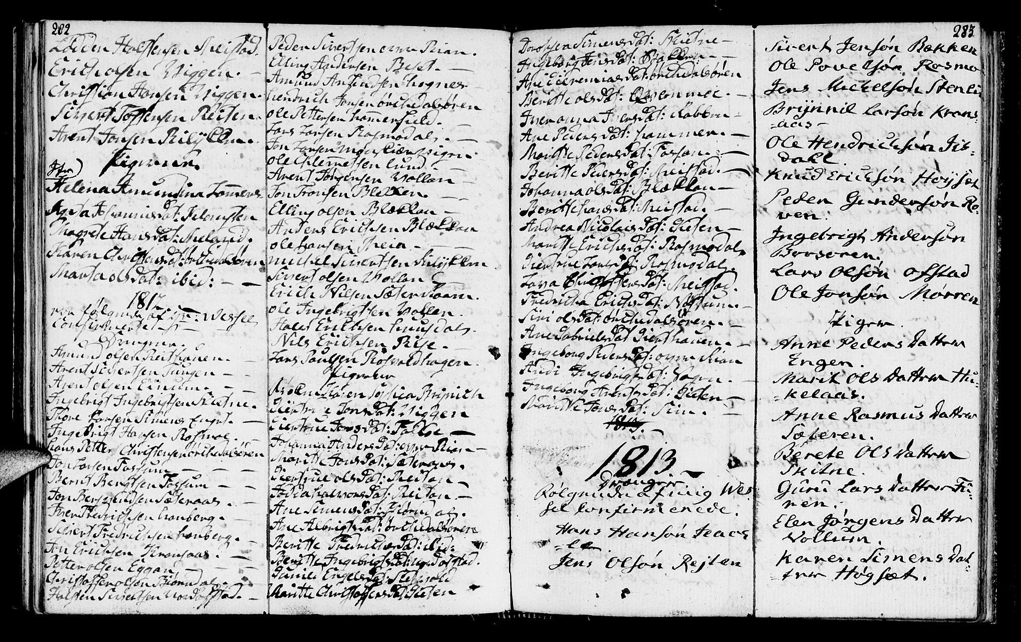 SAT, Ministerialprotokoller, klokkerbøker og fødselsregistre - Sør-Trøndelag, 665/L0769: Ministerialbok nr. 665A04, 1803-1816, s. 282-283