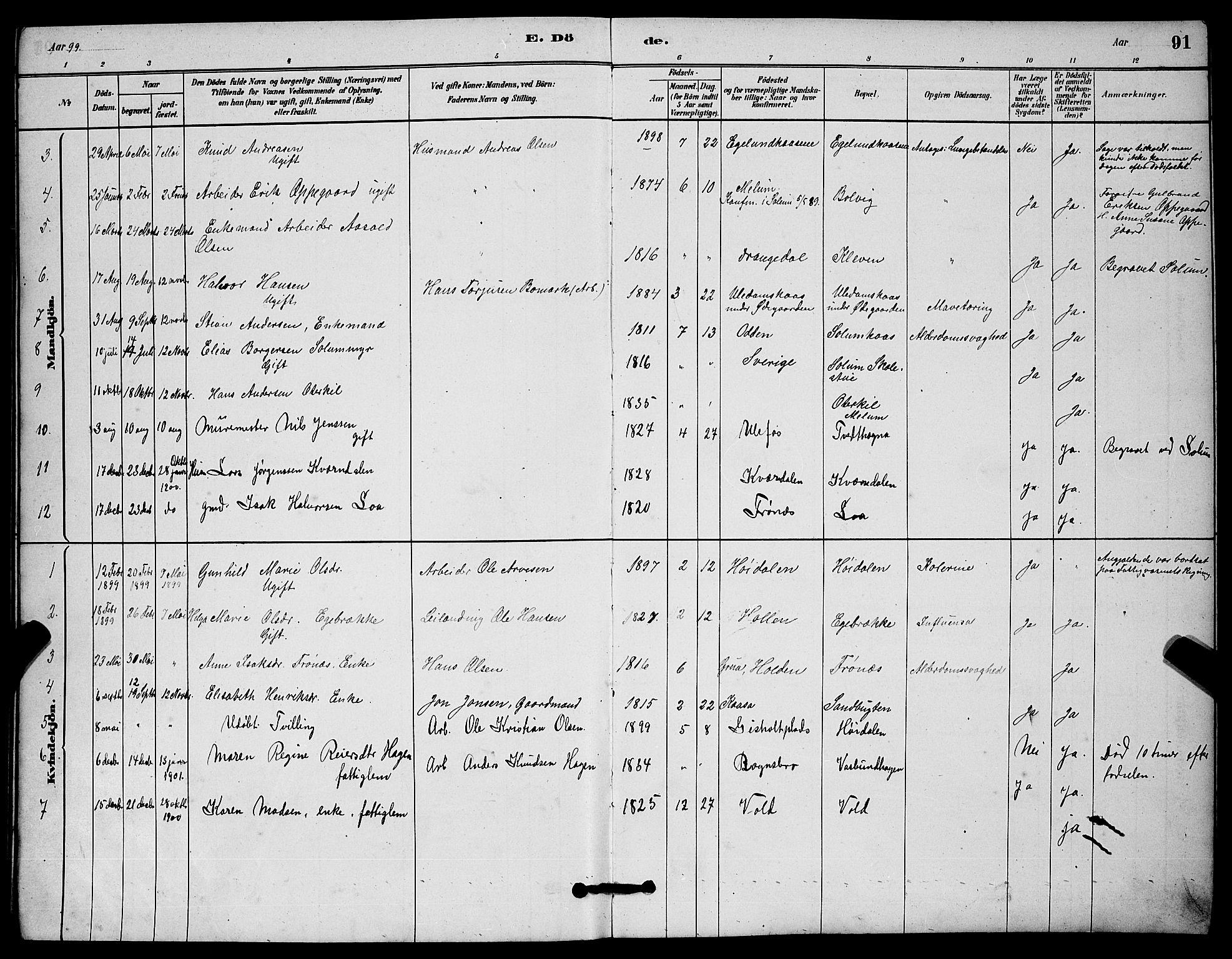 SAKO, Solum kirkebøker, G/Gc/L0001: Klokkerbok nr. III 1, 1880-1902, s. 91