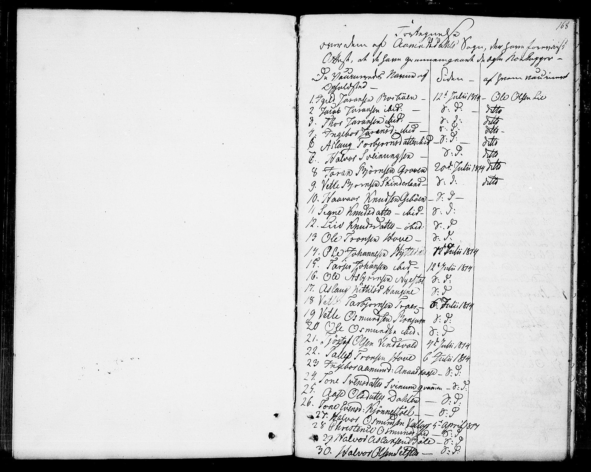SAKO, Seljord kirkebøker, F/Fa/L0009: Ministerialbok nr. I 9, 1801-1814, s. 168