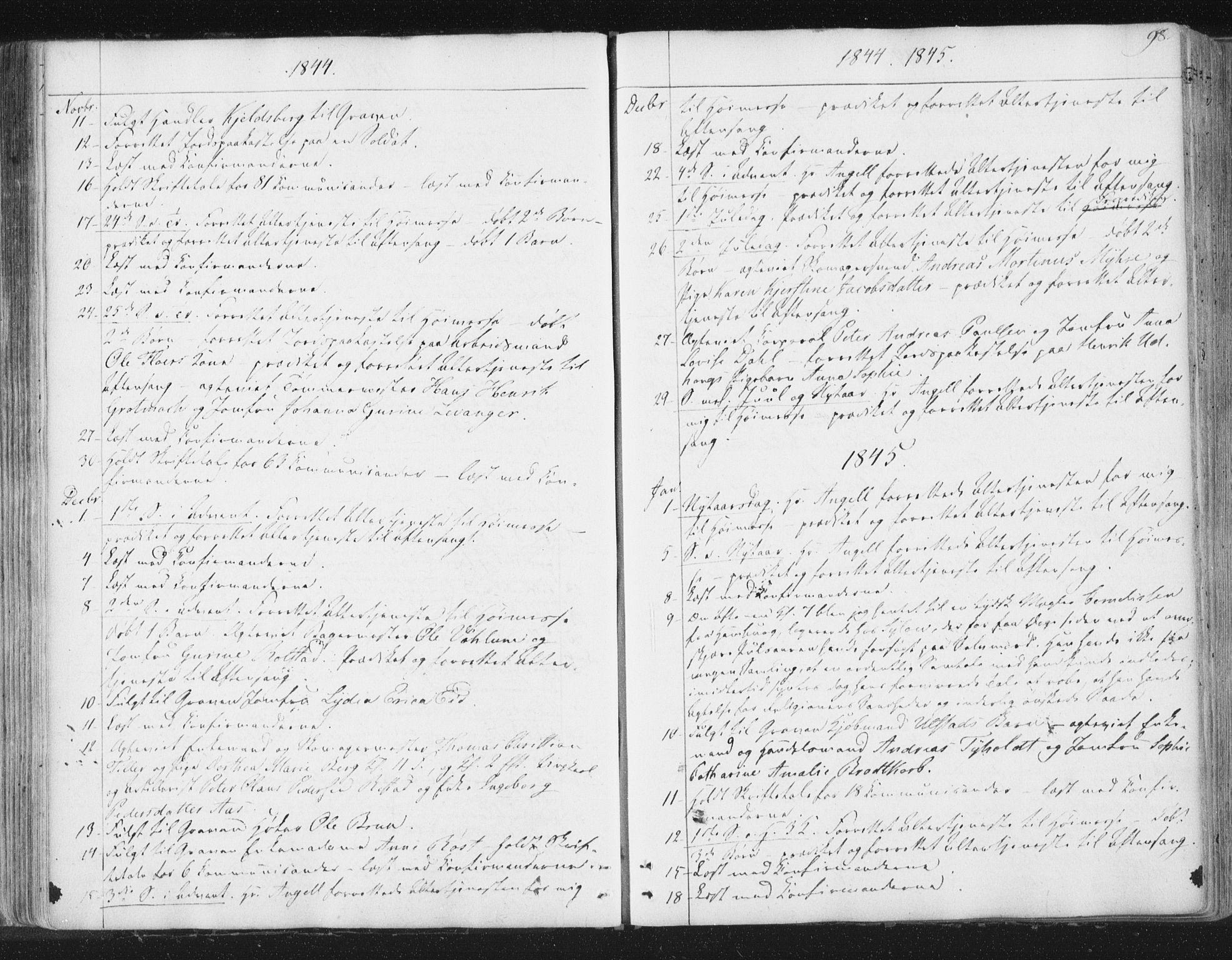 SAT, Ministerialprotokoller, klokkerbøker og fødselsregistre - Sør-Trøndelag, 602/L0127: Residerende kapellans bok nr. 602B01, 1821-1875, s. 98