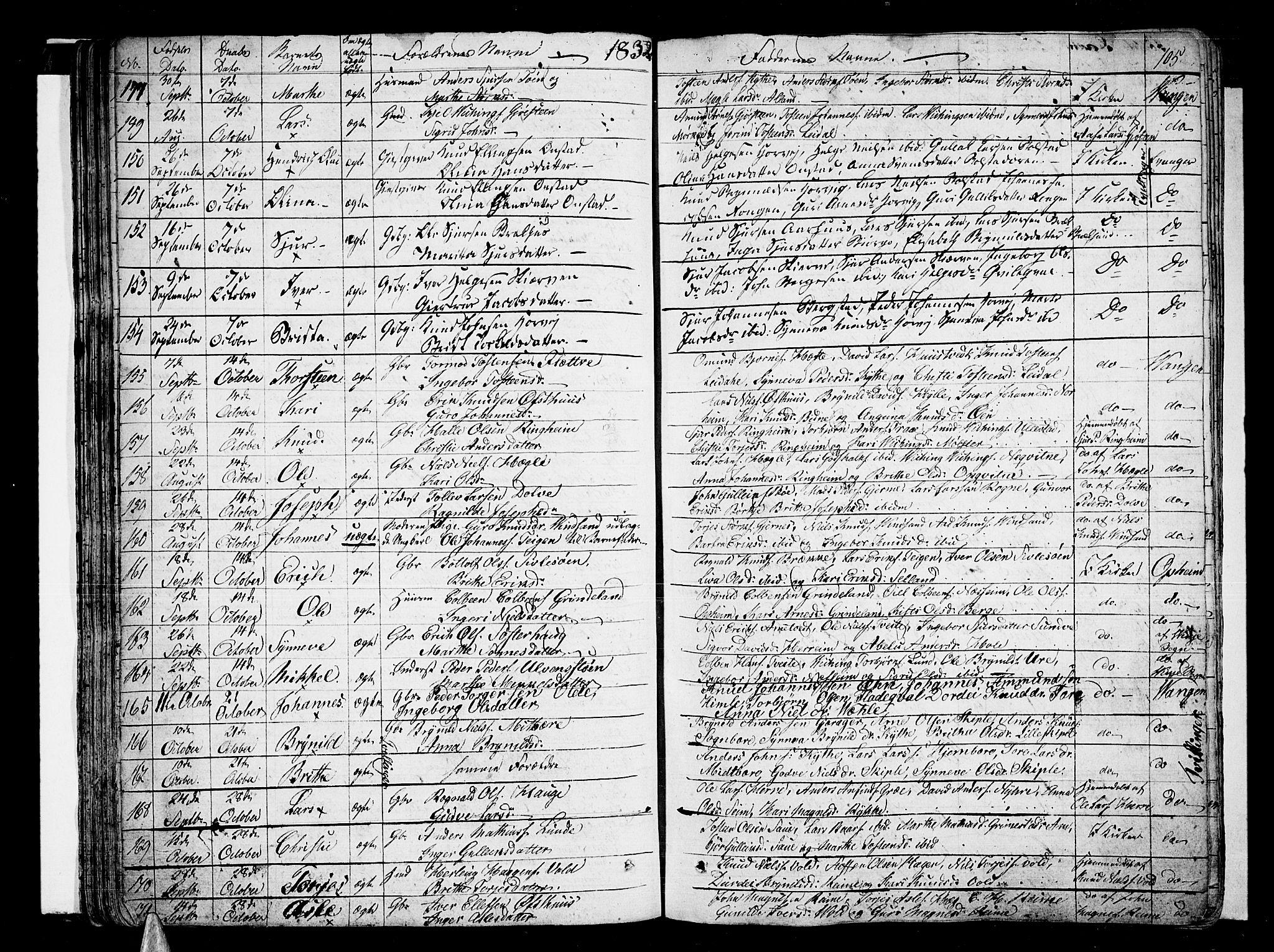 SAB, Voss Sokneprestembete, H/Haa: Ministerialbok nr. A 12, 1823-1837, s. 105