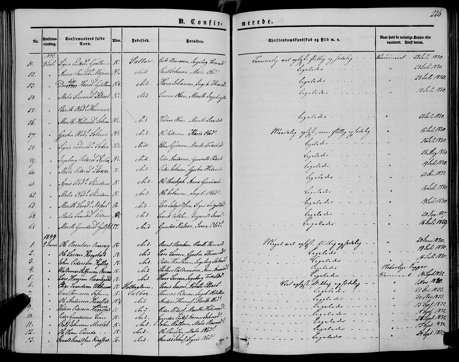 SAT, Ministerialprotokoller, klokkerbøker og fødselsregistre - Sør-Trøndelag, 695/L1145: Ministerialbok nr. 695A06 /1, 1843-1859, s. 226