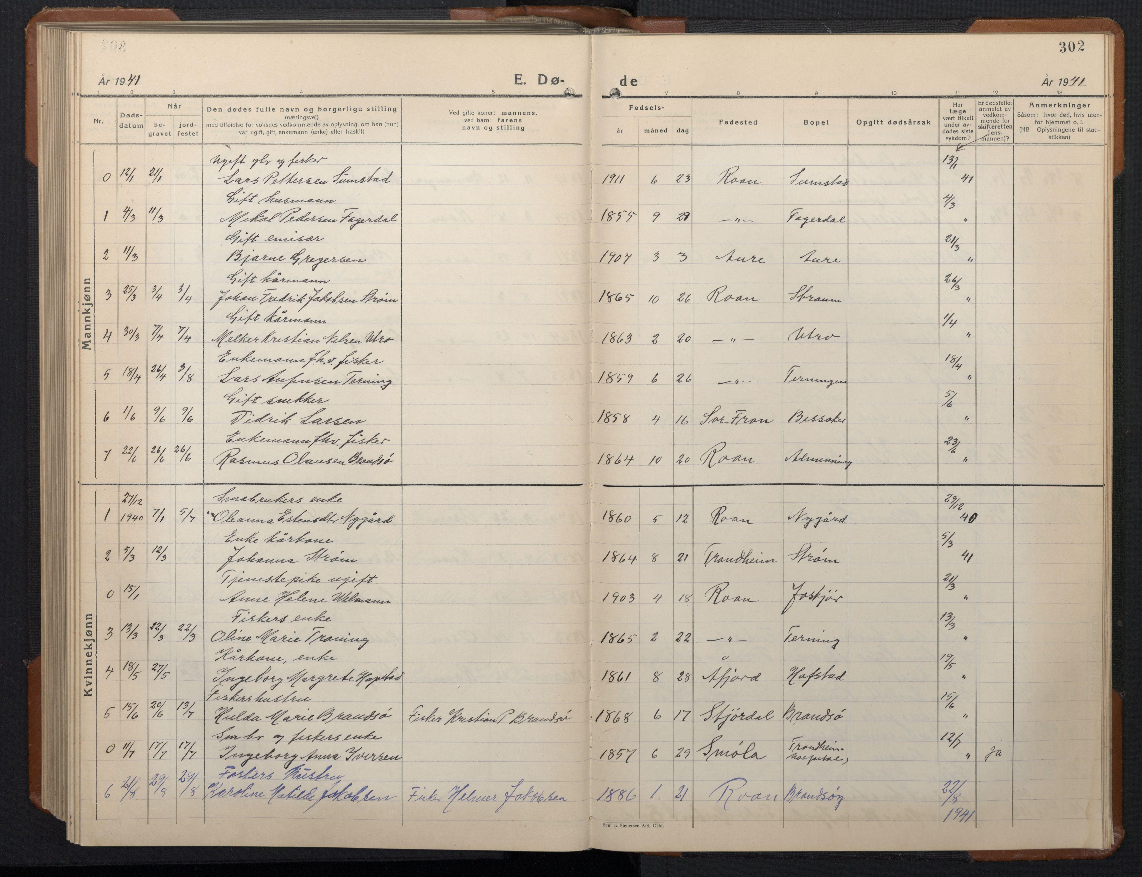 SAT, Ministerialprotokoller, klokkerbøker og fødselsregistre - Sør-Trøndelag, 657/L0718: Klokkerbok nr. 657C05, 1923-1948, s. 302