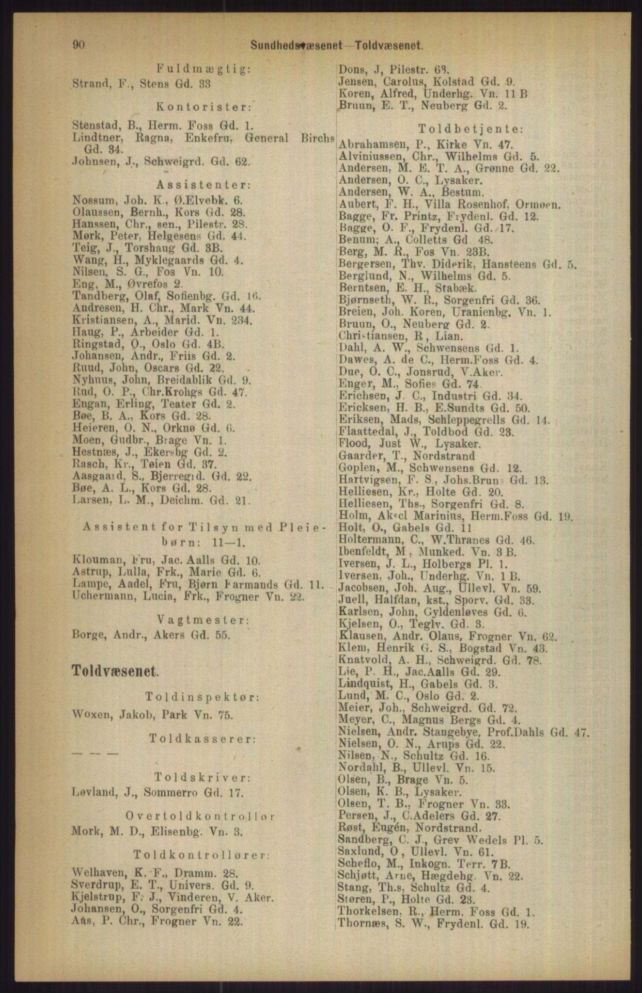 RA, Kristiania adressebok (publikasjon)*, 1911, s. 90