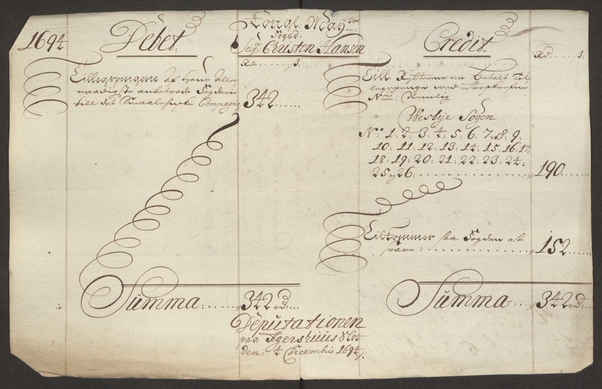 RA, Rentekammeret inntil 1814, Reviderte regnskaper, Fogderegnskap, R10/L0438: Fogderegnskap Aker og Follo, 1694, s. 257