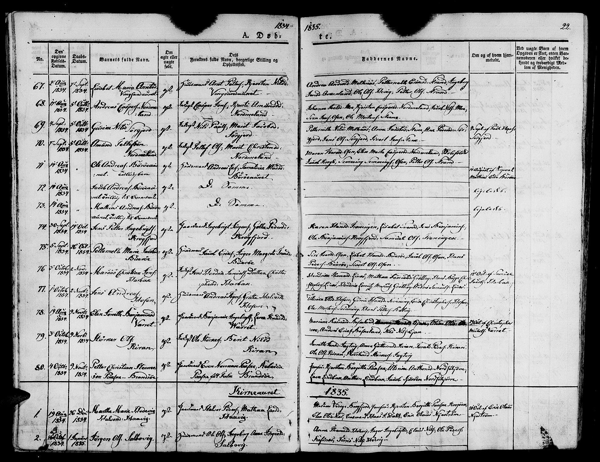 SAT, Ministerialprotokoller, klokkerbøker og fødselsregistre - Sør-Trøndelag, 657/L0703: Ministerialbok nr. 657A04, 1831-1846, s. 22