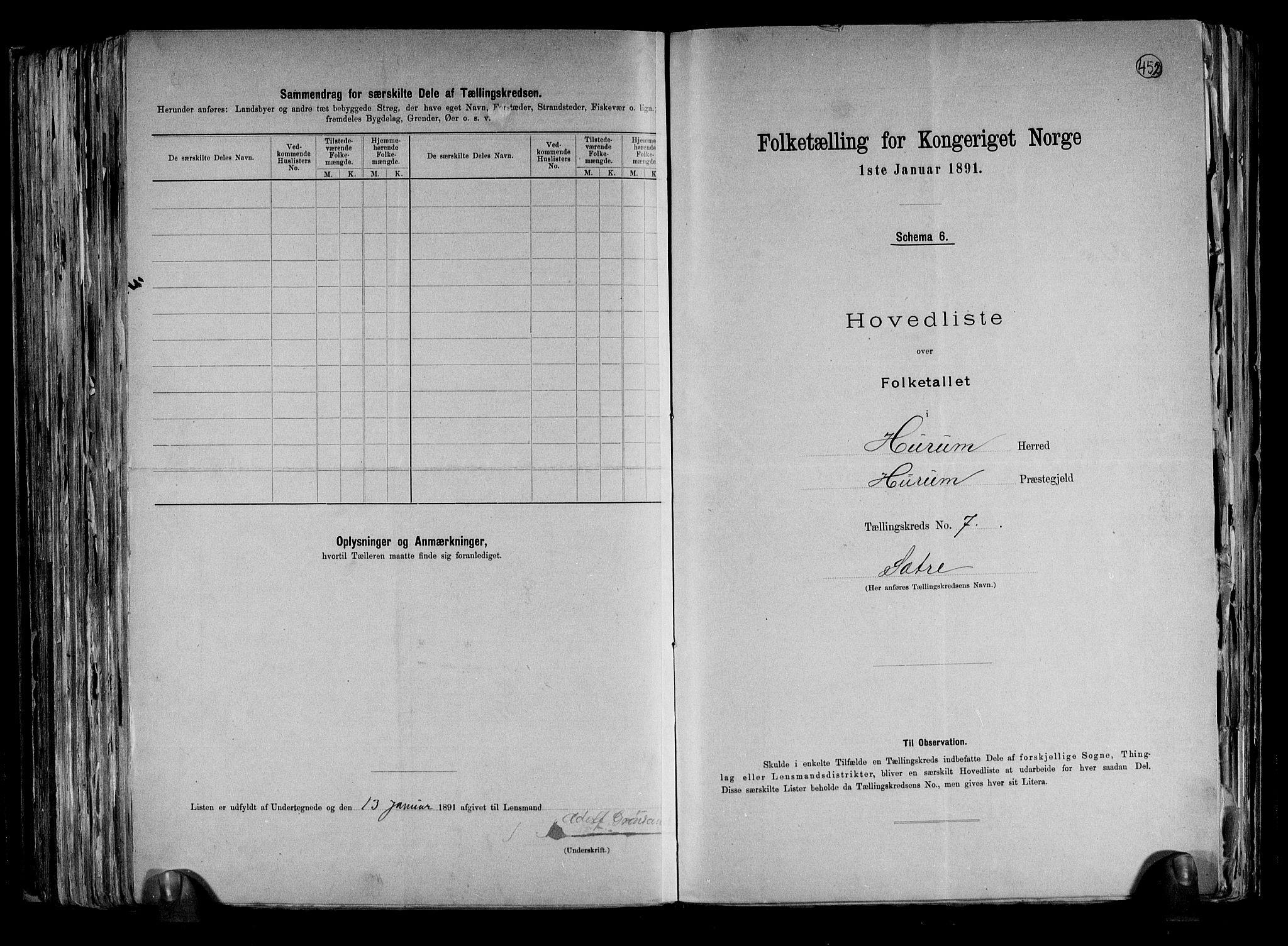 RA, Folketelling 1891 for 0628 Hurum herred, 1891, s. 17