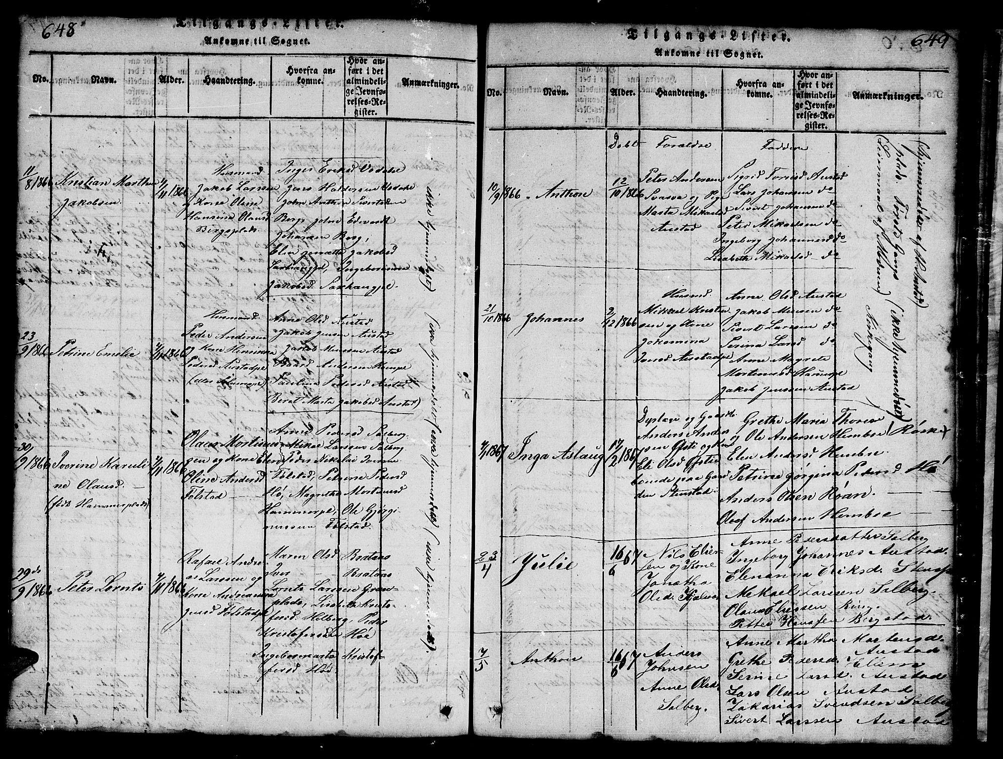 SAT, Ministerialprotokoller, klokkerbøker og fødselsregistre - Nord-Trøndelag, 731/L0310: Klokkerbok nr. 731C01, 1816-1874, s. 648-649