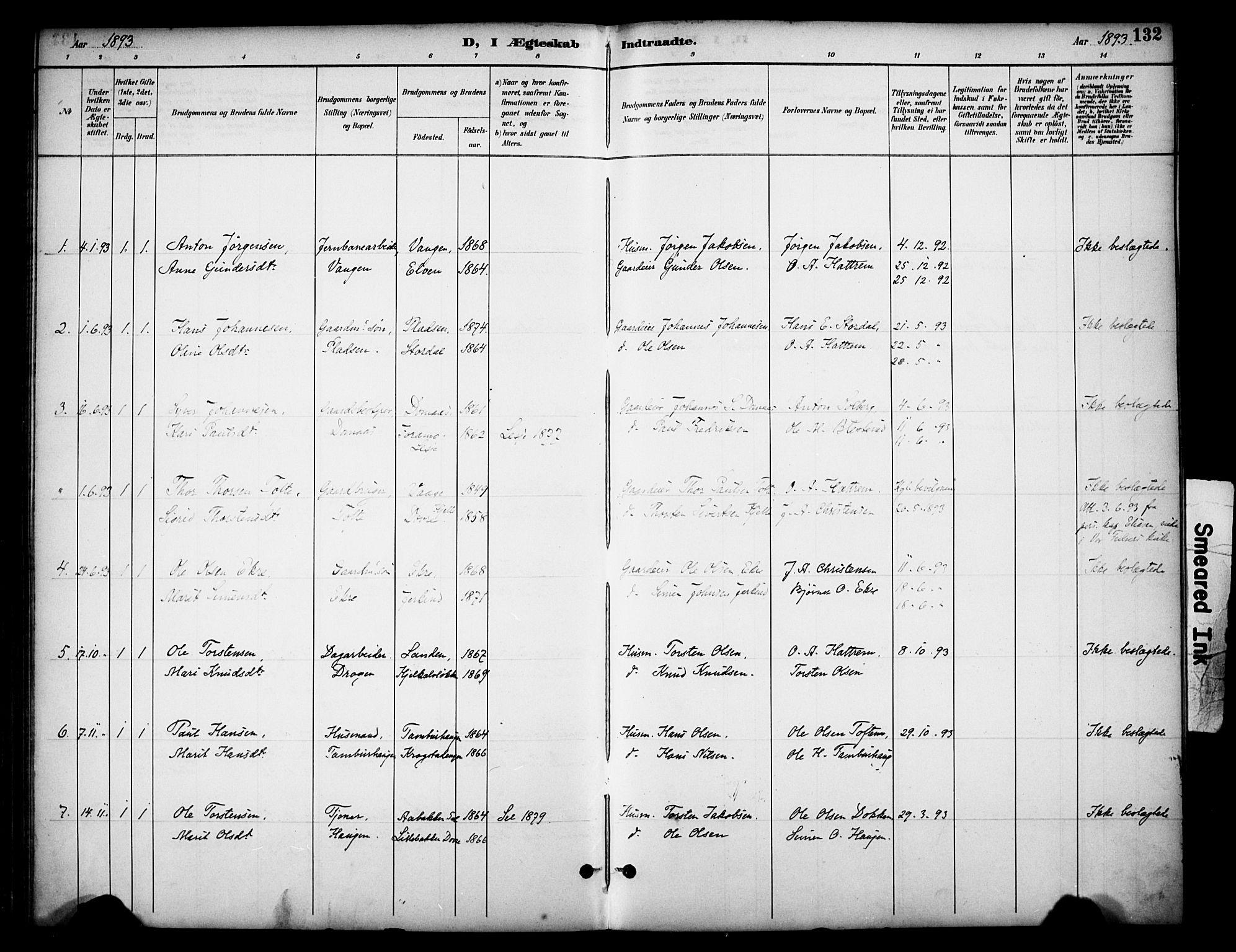 SAH, Dovre prestekontor, Ministerialbok nr. 3, 1891-1901, s. 132