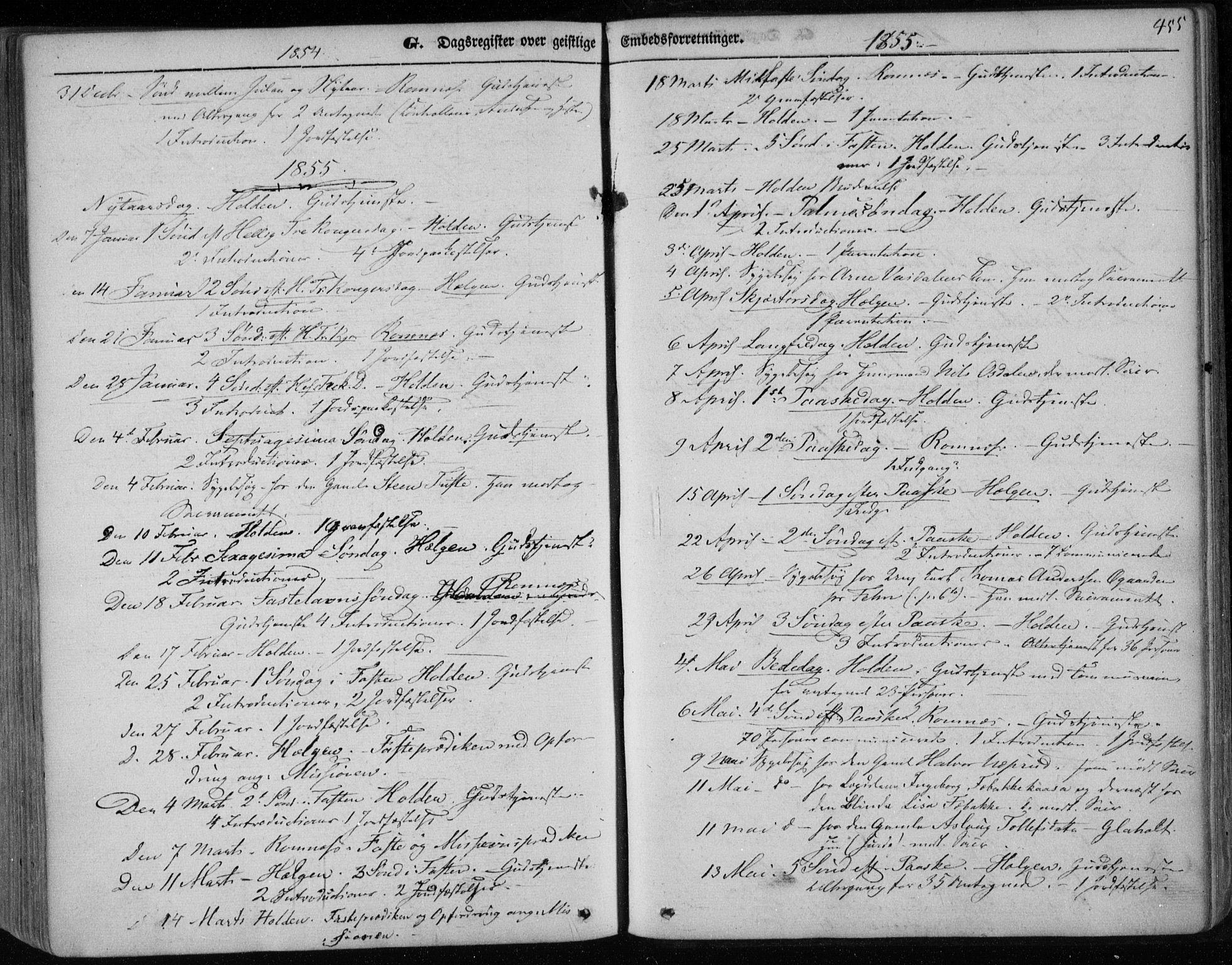 SAKO, Holla kirkebøker, F/Fa/L0005: Ministerialbok nr. 5, 1849-1860, s. 455