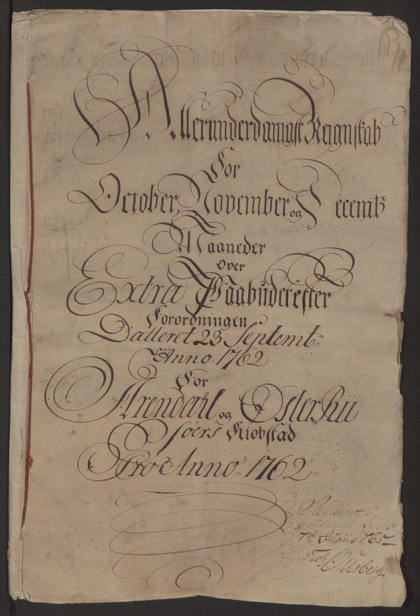 RA, Rentekammeret inntil 1814, Reviderte regnskaper, Byregnskaper, R/Rl/L0230: [L4] Kontribusjonsregnskap, 1762-1764, s. 4