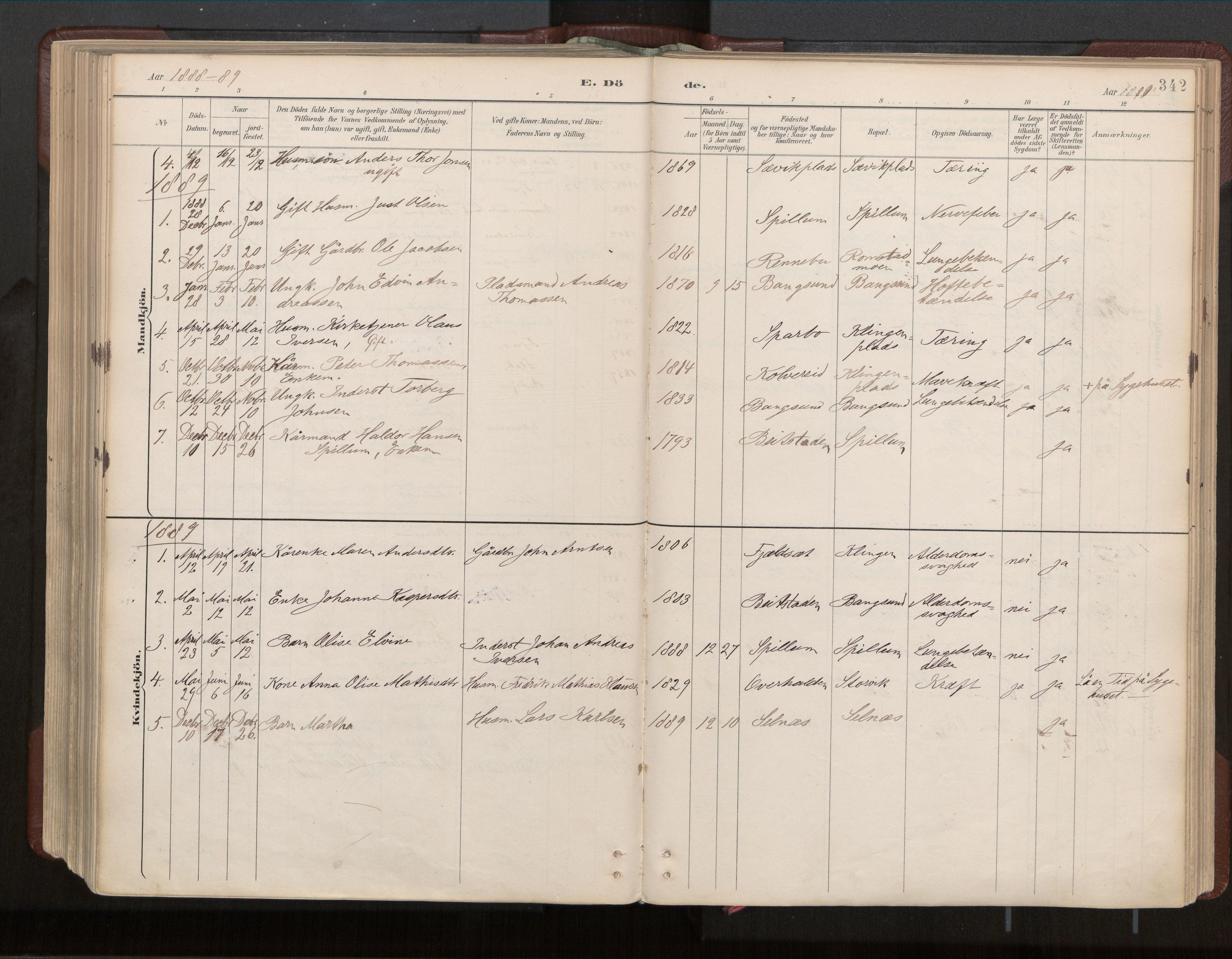 SAT, Ministerialprotokoller, klokkerbøker og fødselsregistre - Nord-Trøndelag, 770/L0589: Ministerialbok nr. 770A03, 1887-1929, s. 342