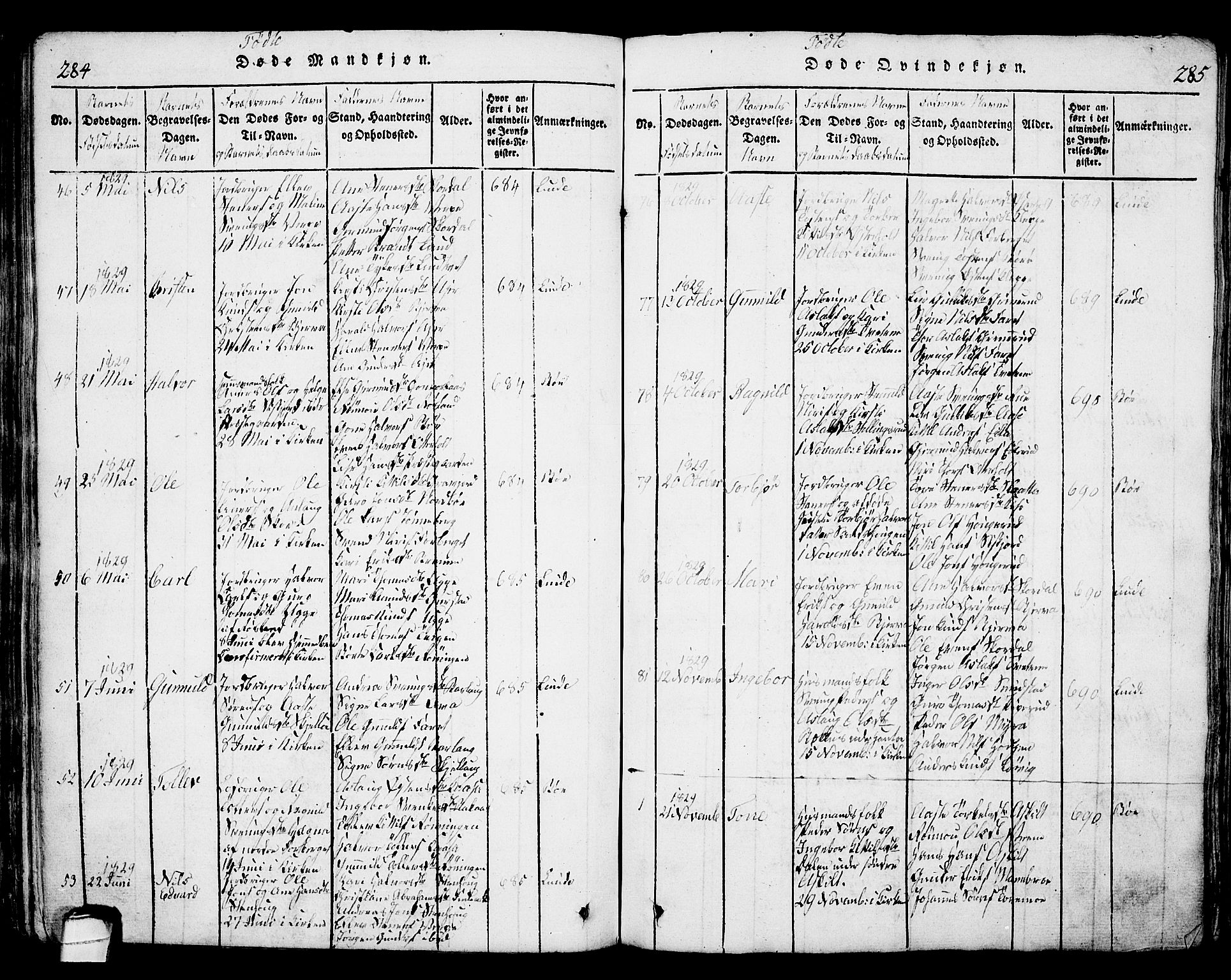 SAKO, Bø kirkebøker, G/Ga/L0001: Klokkerbok nr. 1, 1815-1831, s. 284-285