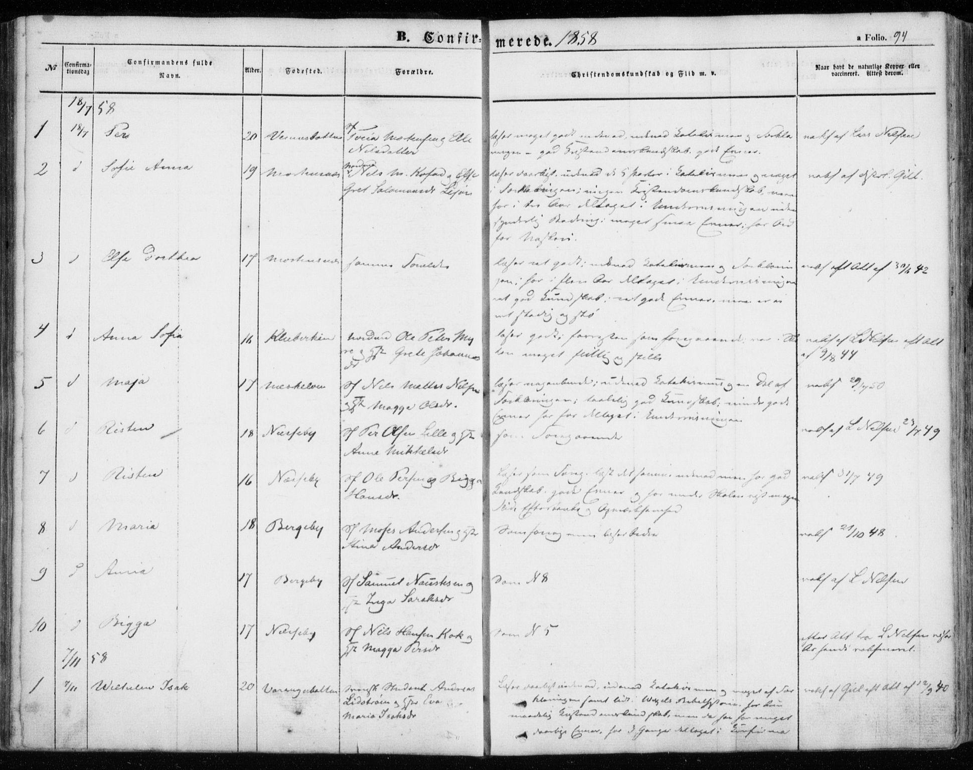 SATØ, Nesseby sokneprestkontor, H/Ha/L0002kirke: Ministerialbok nr. 2, 1856-1864, s. 94
