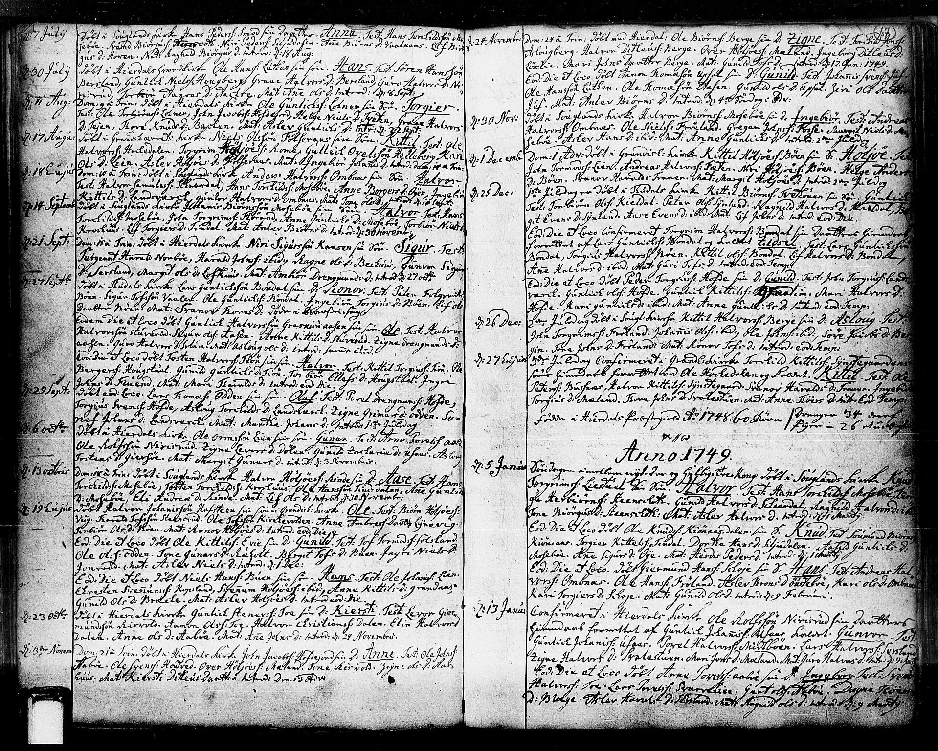 SAKO, Hjartdal kirkebøker, F/Fa/L0003: Ministerialbok nr. I 3, 1727-1775, s. 67