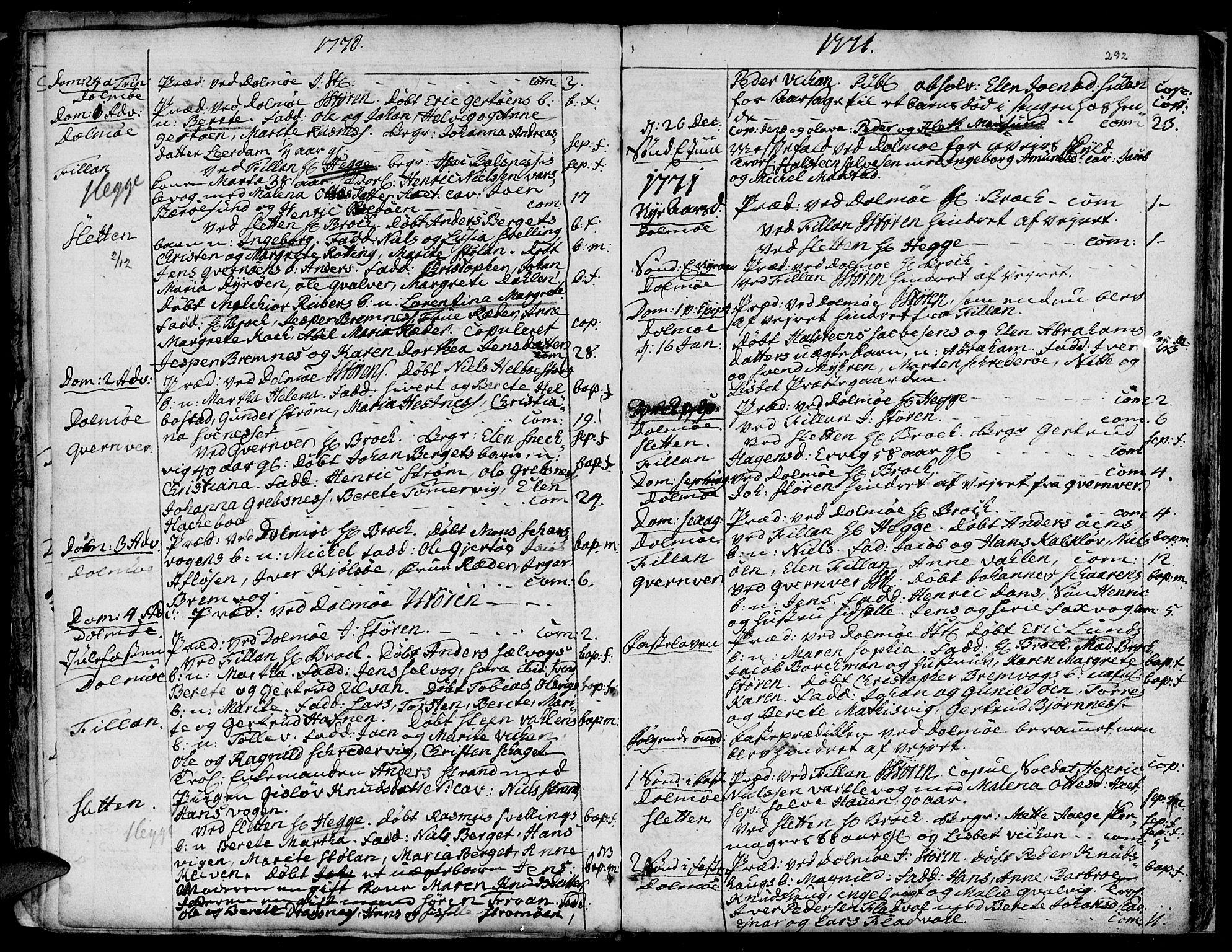 SAT, Ministerialprotokoller, klokkerbøker og fødselsregistre - Sør-Trøndelag, 634/L0525: Ministerialbok nr. 634A01, 1736-1775, s. 292